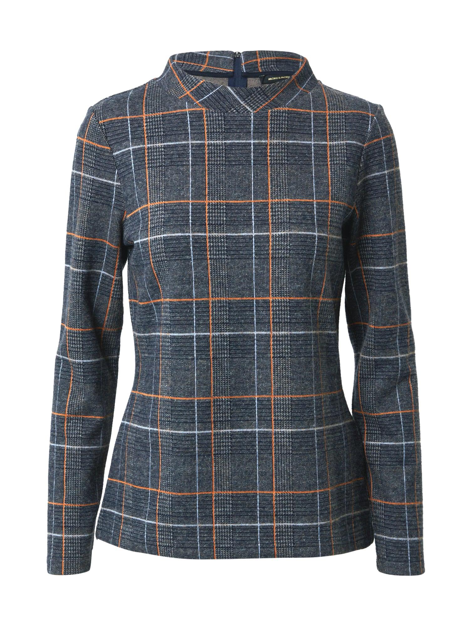 MORE & MORE Marškinėliai margai pilka / juoda / oranžinė / šviesiai mėlyna
