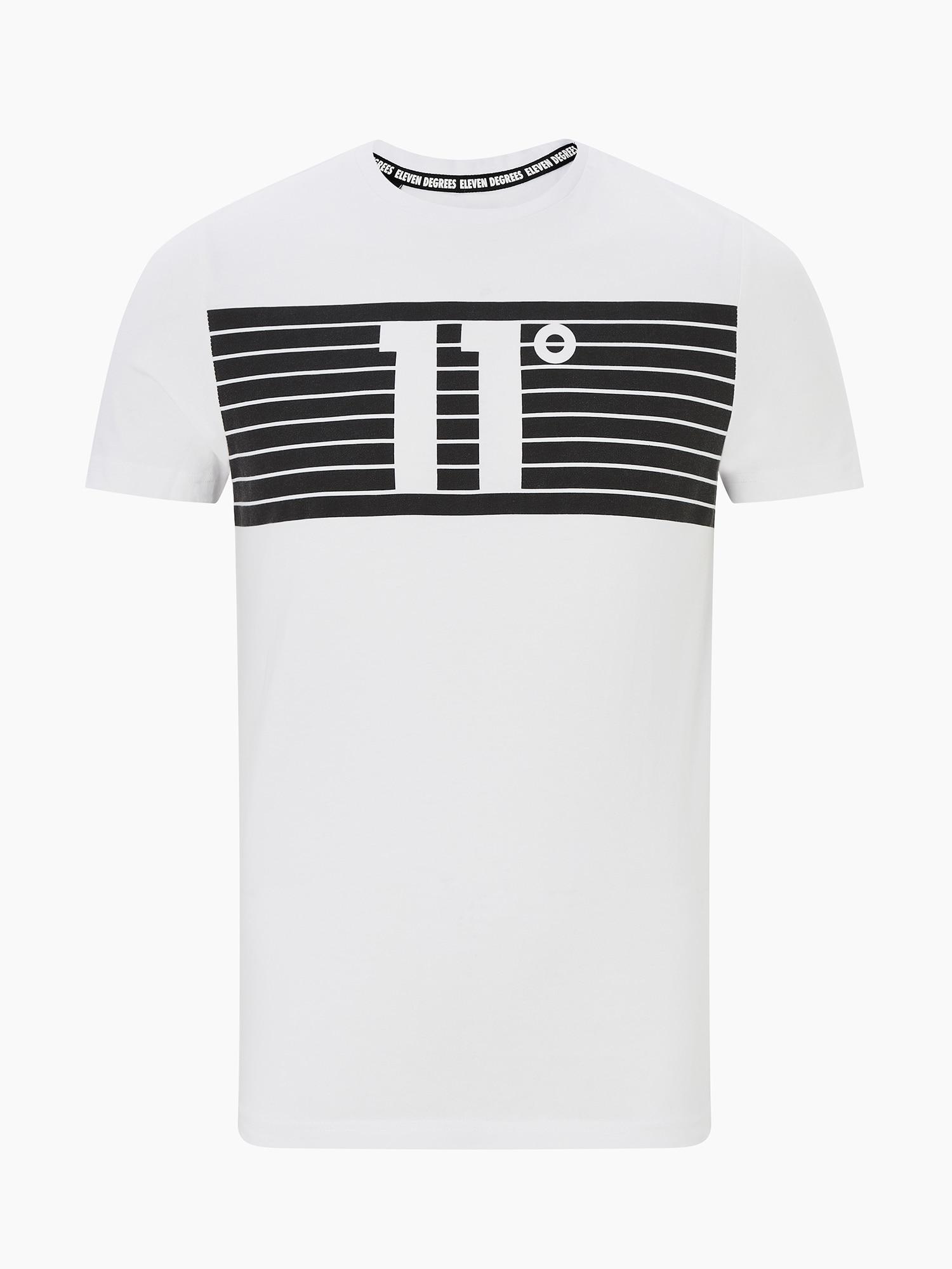 11 Degrees Marškinėliai 'PLACEMENT STRIPE' juoda / balta