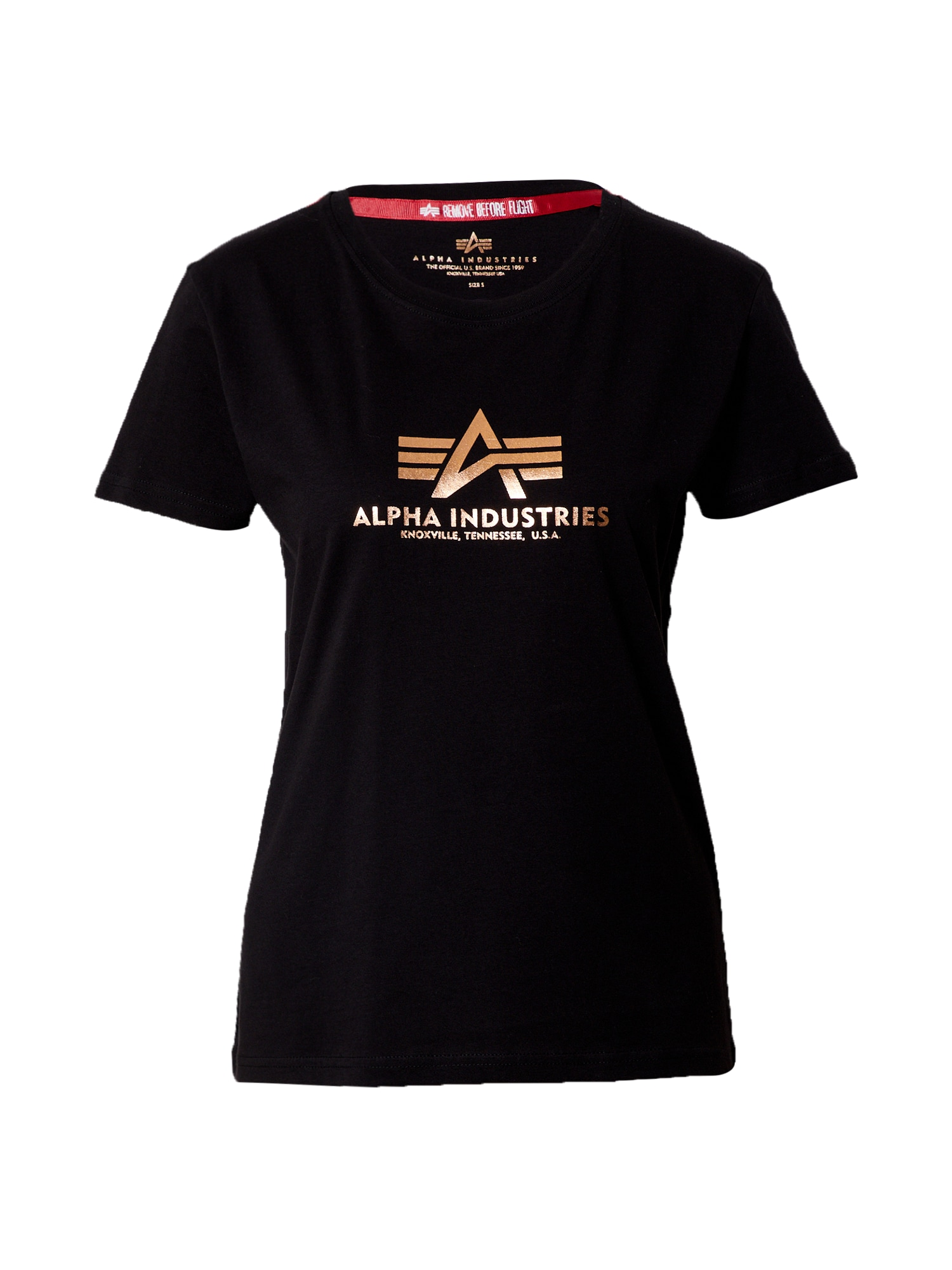 ALPHA INDUSTRIES Marškinėliai juoda / auksas