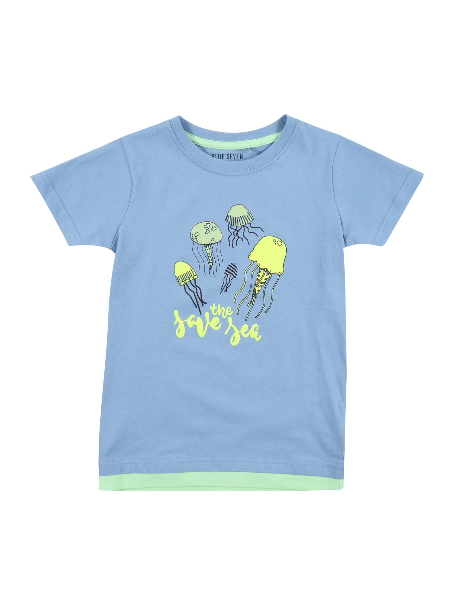 BLUE SEVEN Marškinėliai mėlyna dūmų spalva / šviesiai žalia / neoninė geltona