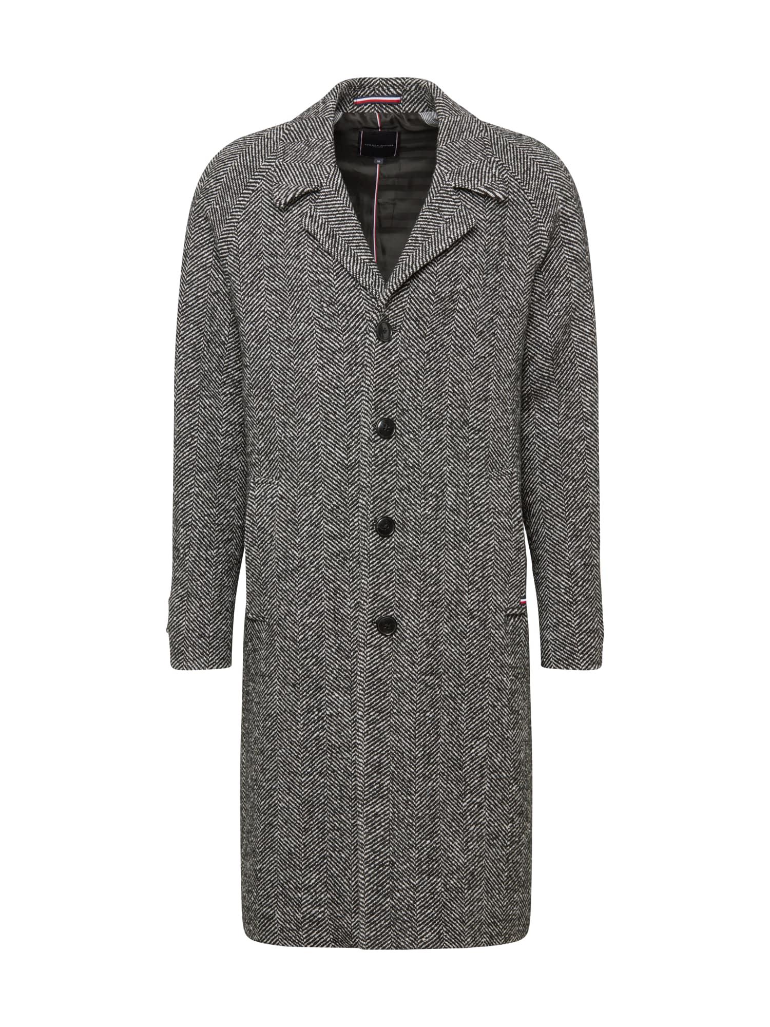 Tommy Hilfiger Tailored Přechodný kabát 'HERRINGBONE'  šedá / černá