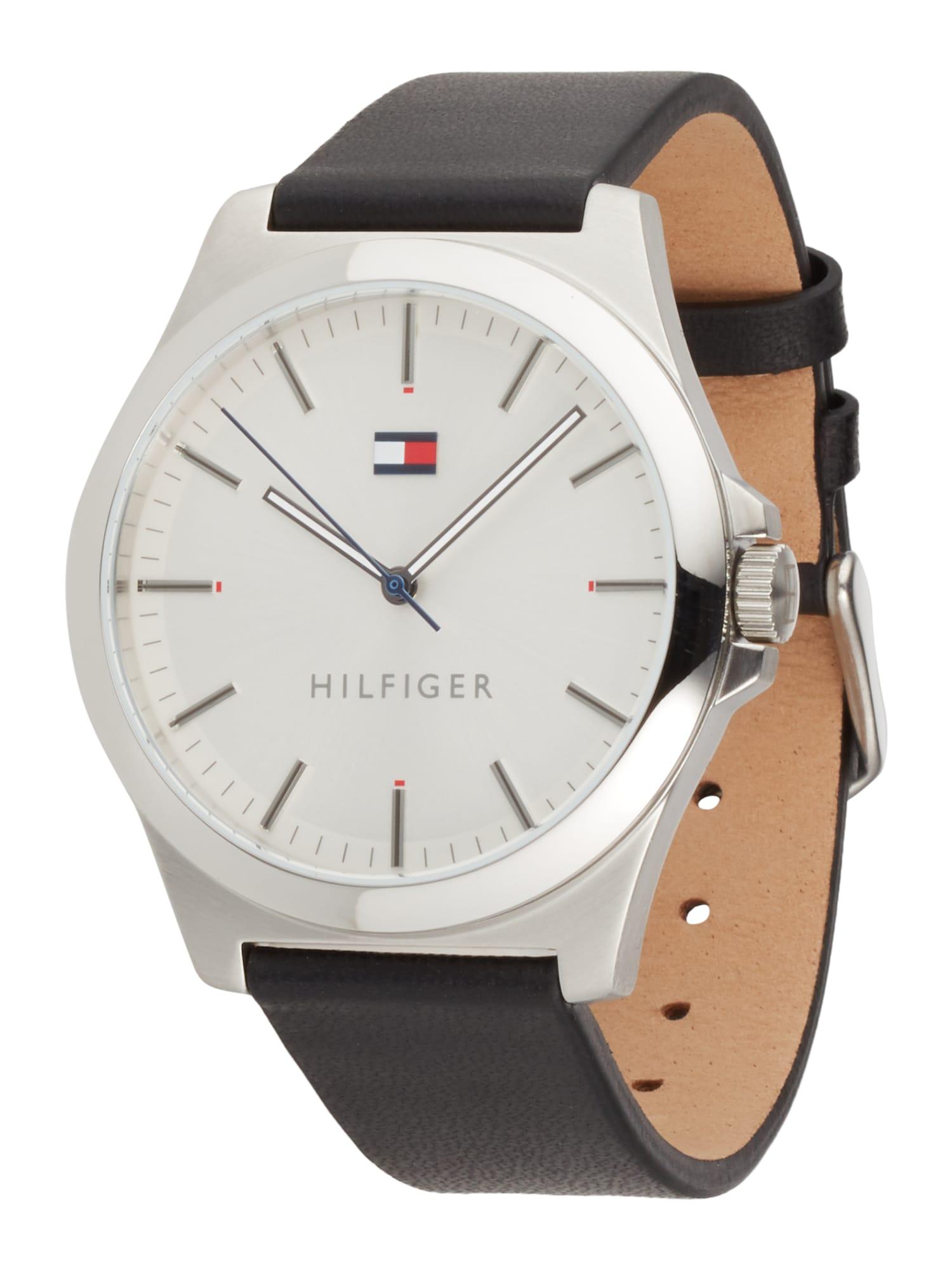 TOMMY HILFIGER Analoginis (įprasto dizaino) laikrodis sidabrinė / juoda