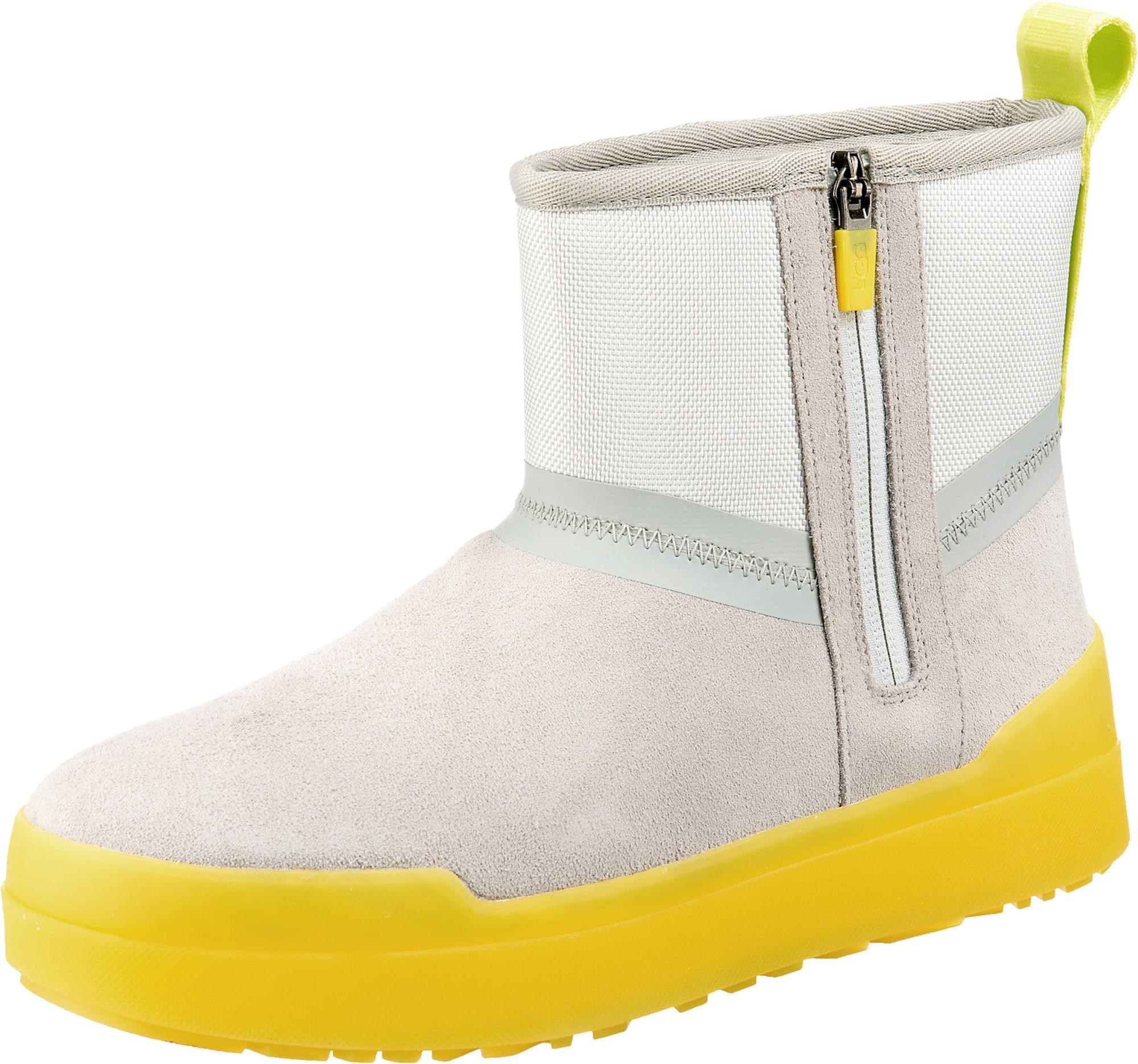 UGG Sniego batai šviesiai pilka / neoninė geltona