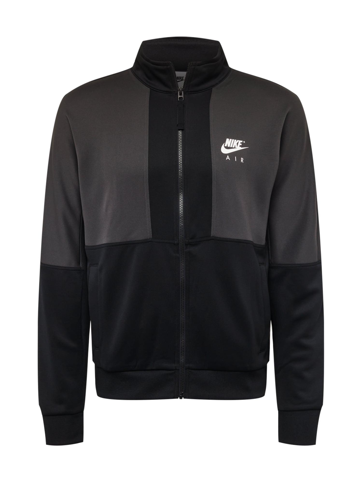 Nike Sportswear Džemperis juoda / tamsiai pilka / balta
