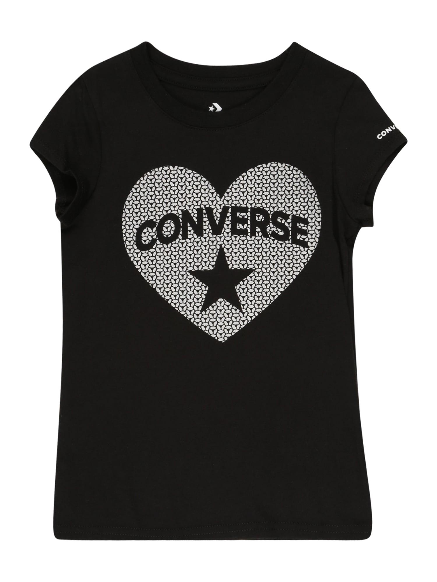 CONVERSE Tričko  černá / bílá