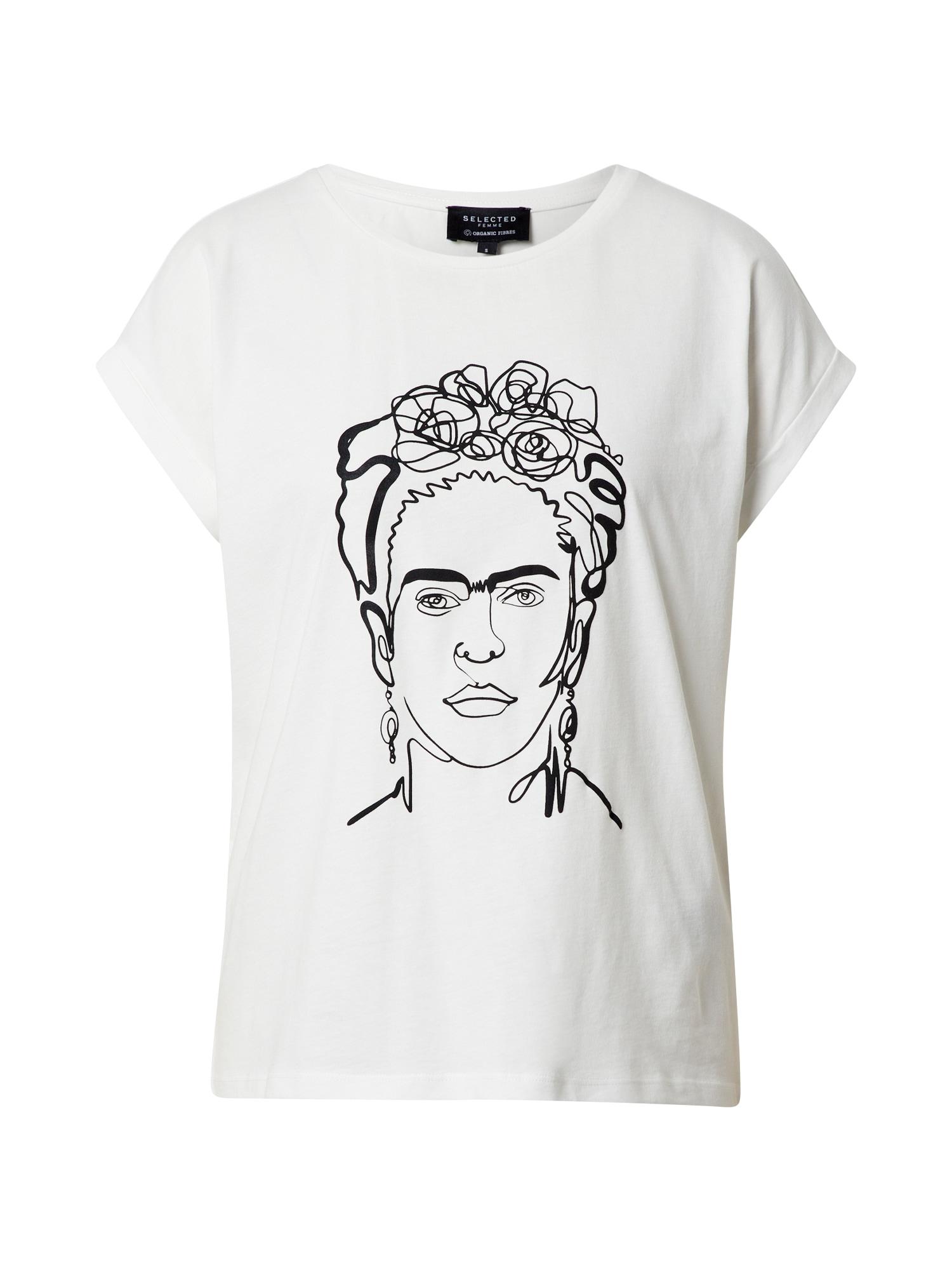 SELECTED FEMME Tričko 'Frida'  černá / bílá