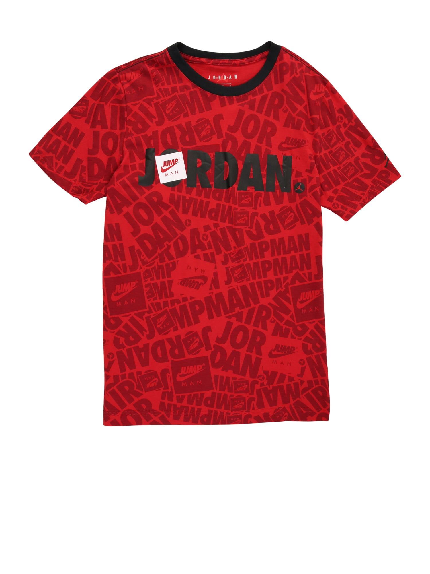 Jordan Marškinėliai raudona / juoda / balta