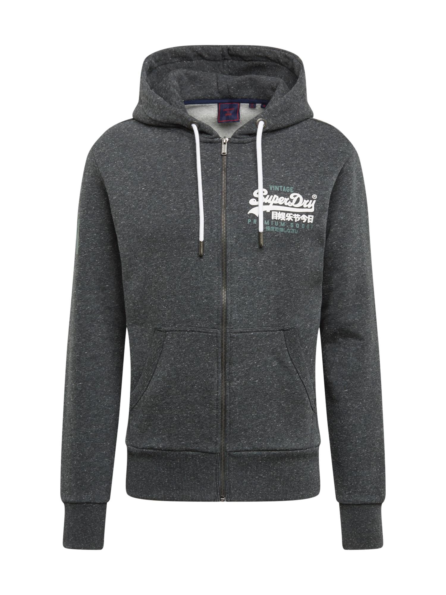 Superdry Džemperis margai juoda / balta / nefrito spalva
