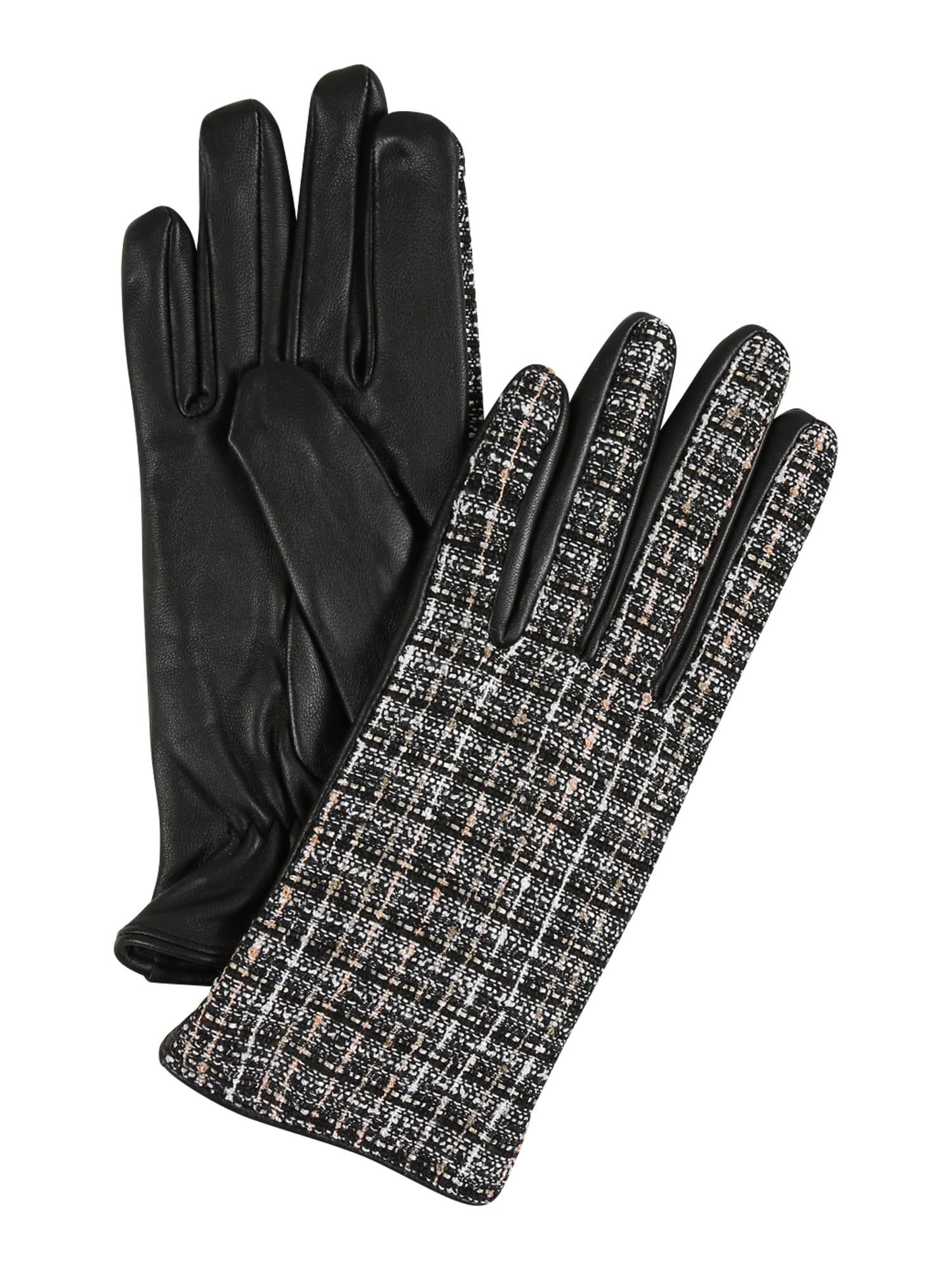 PIECES Prstové rukavice  černá / bílá / béžová