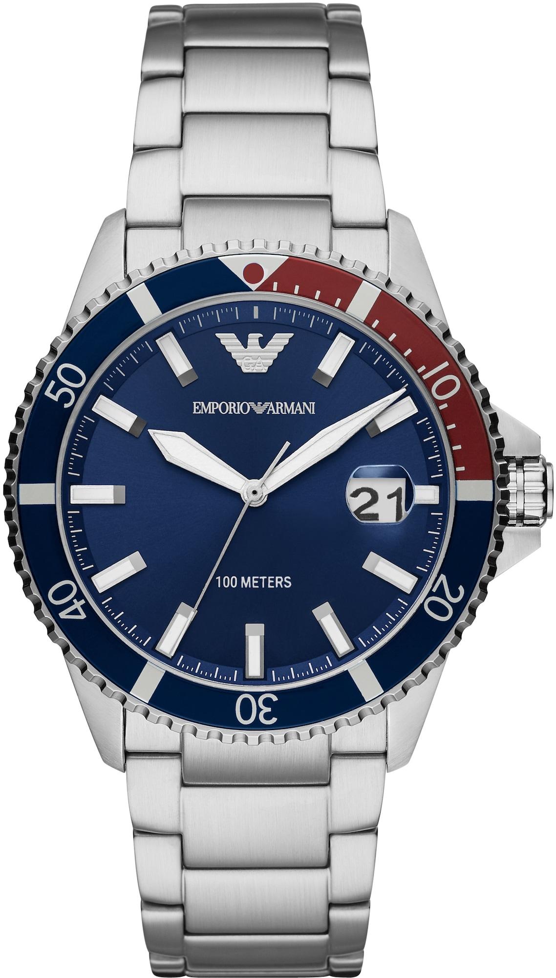 Emporio Armani Analoginis (įprasto dizaino) laikrodis sidabrinė / tamsiai mėlyna