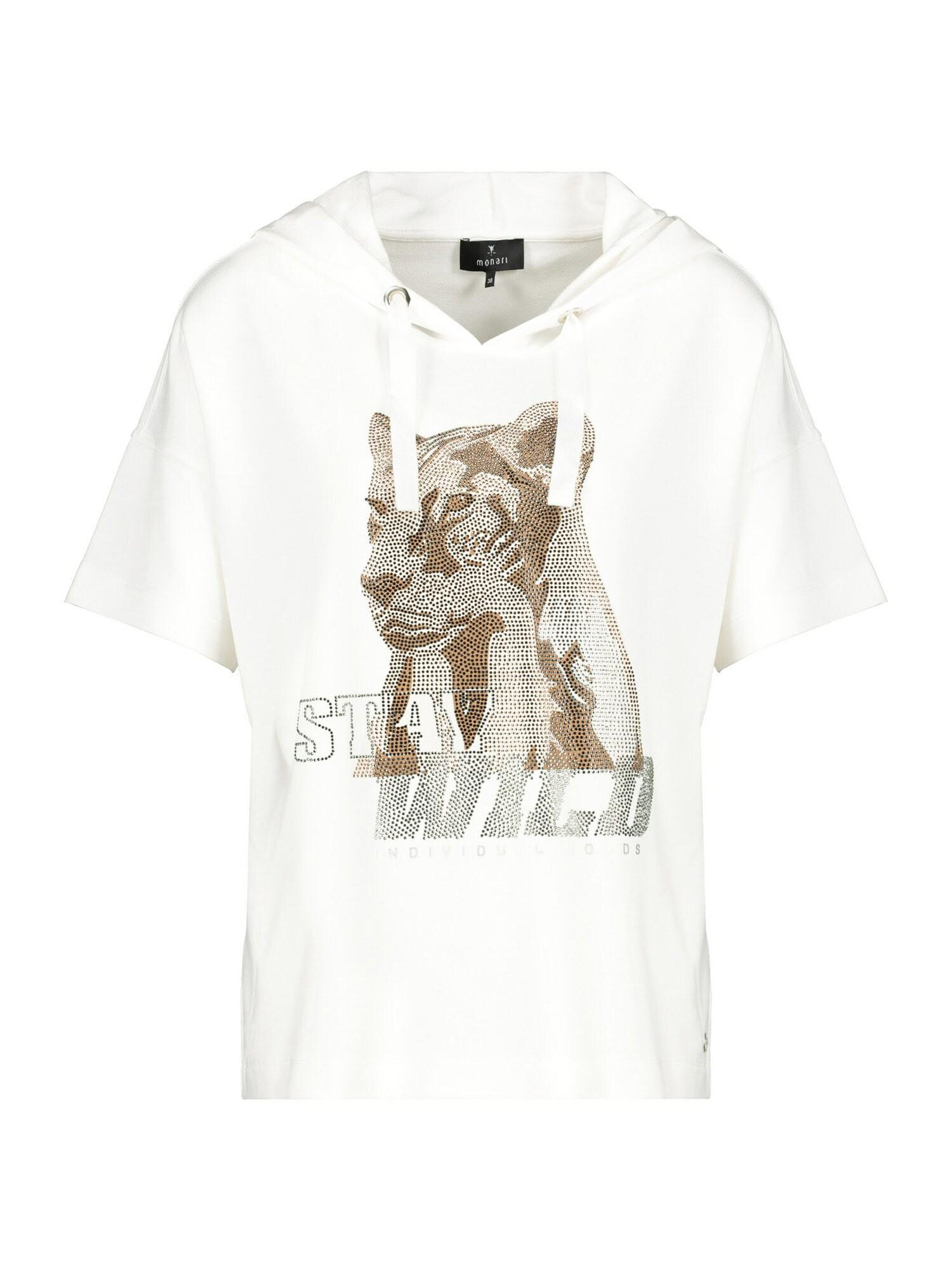 monari Marškinėliai balta / sidabrinė / gelsvai pilka spalva