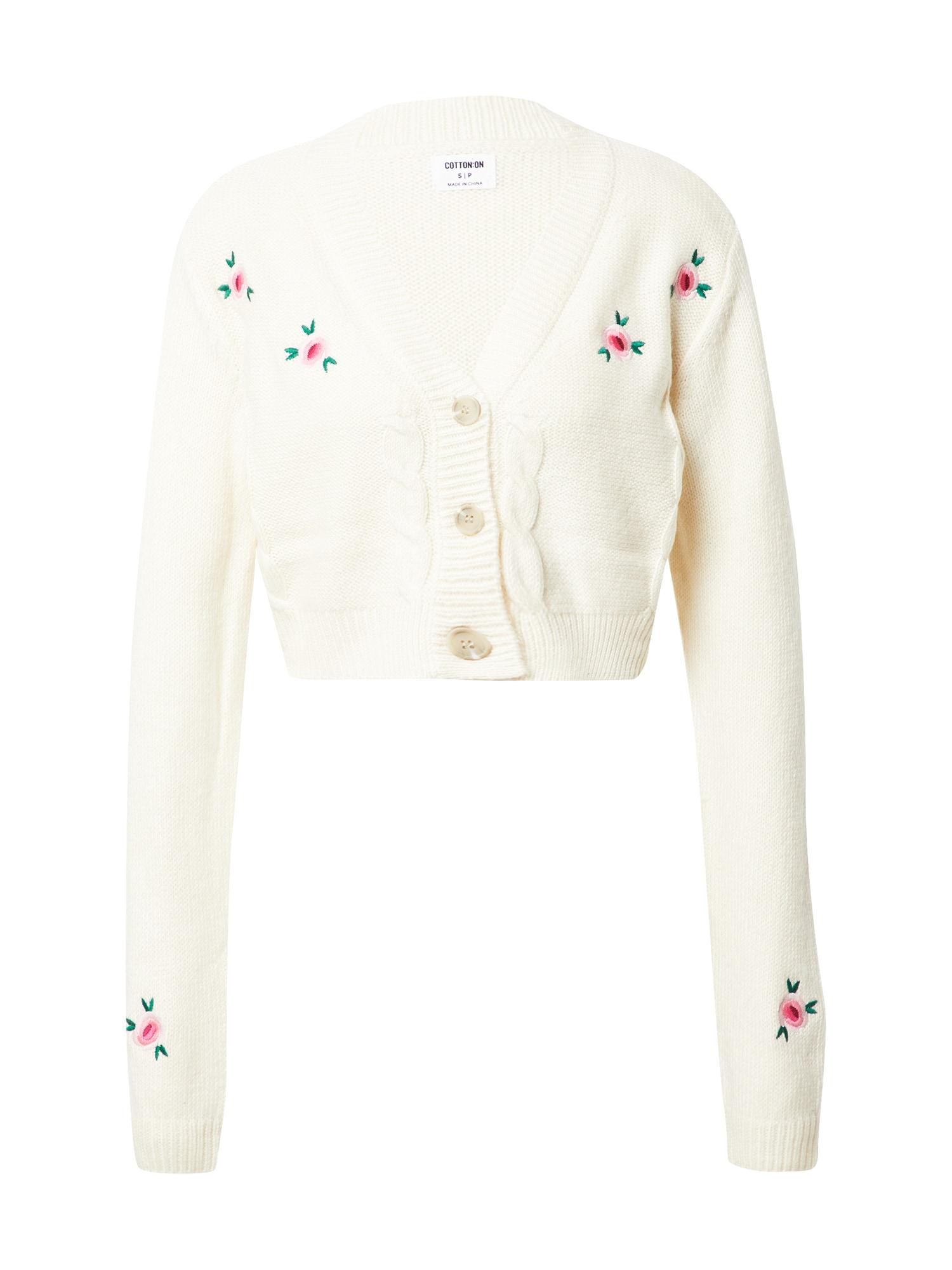Cotton On Kardiganas balta / rožinė / tamsiai žalia / šviesiai rožinė
