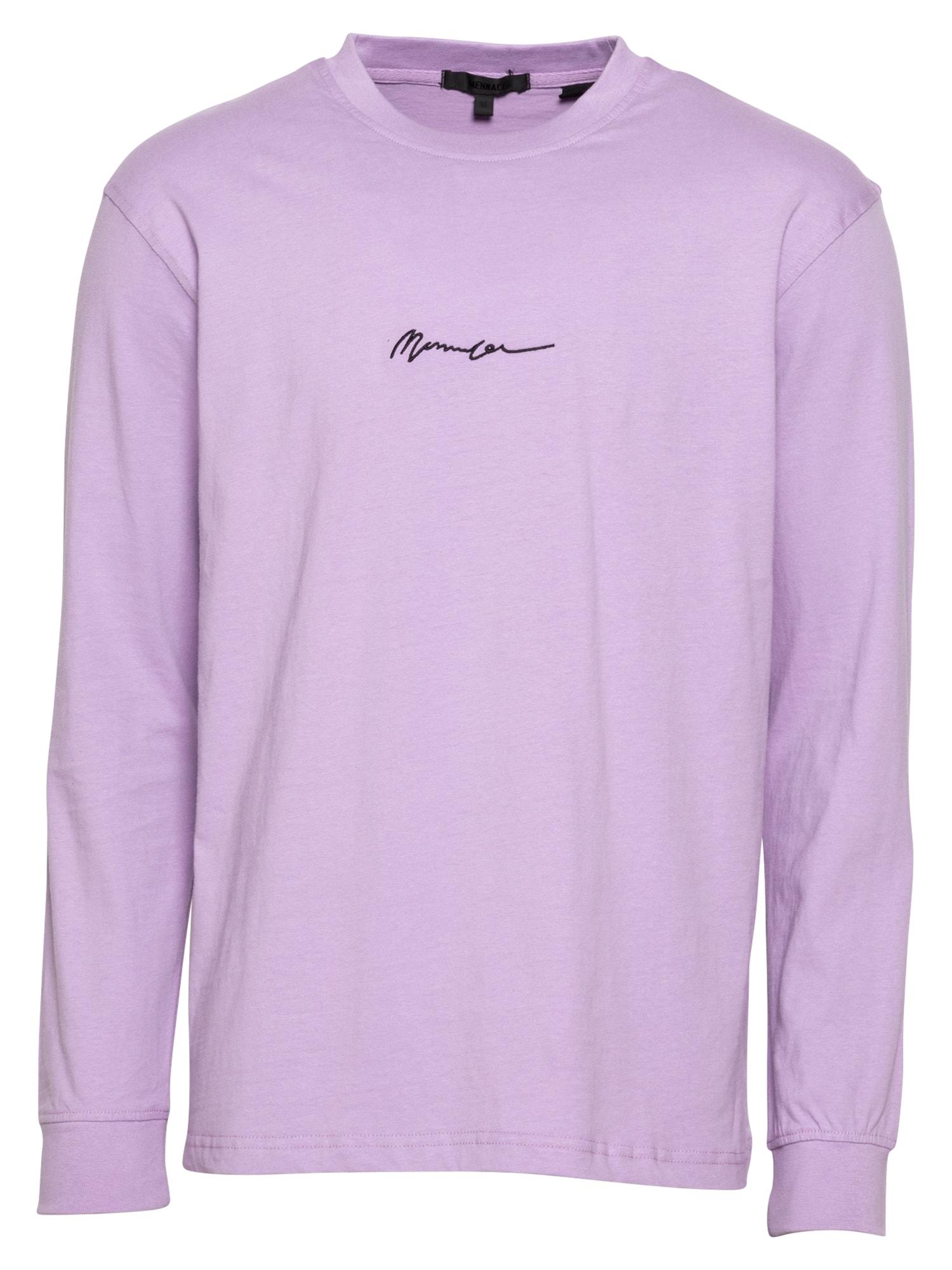 Mennace Marškinėliai rausvai violetinė spalva / juoda