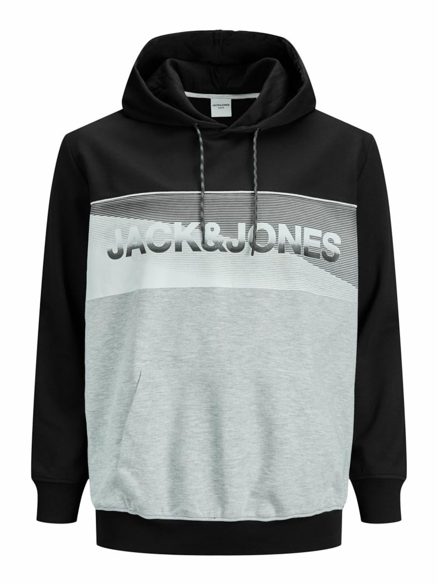 Jack & Jones Plus Megztinis be užsegimo juoda / šviesiai pilka / tamsiai pilka