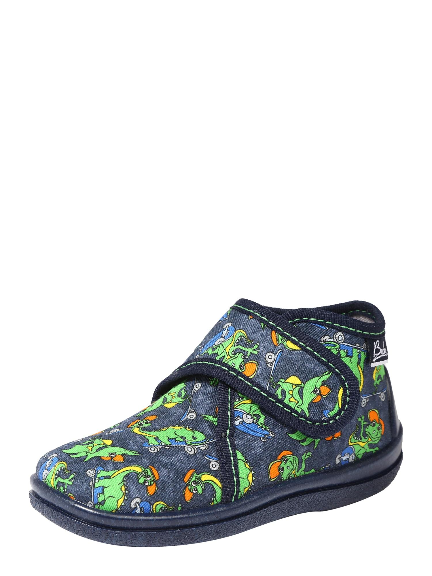 BECK Naminės šlepetės 'Skate Dino' tamsiai mėlyna / žalia / dangaus žydra / oranžinė