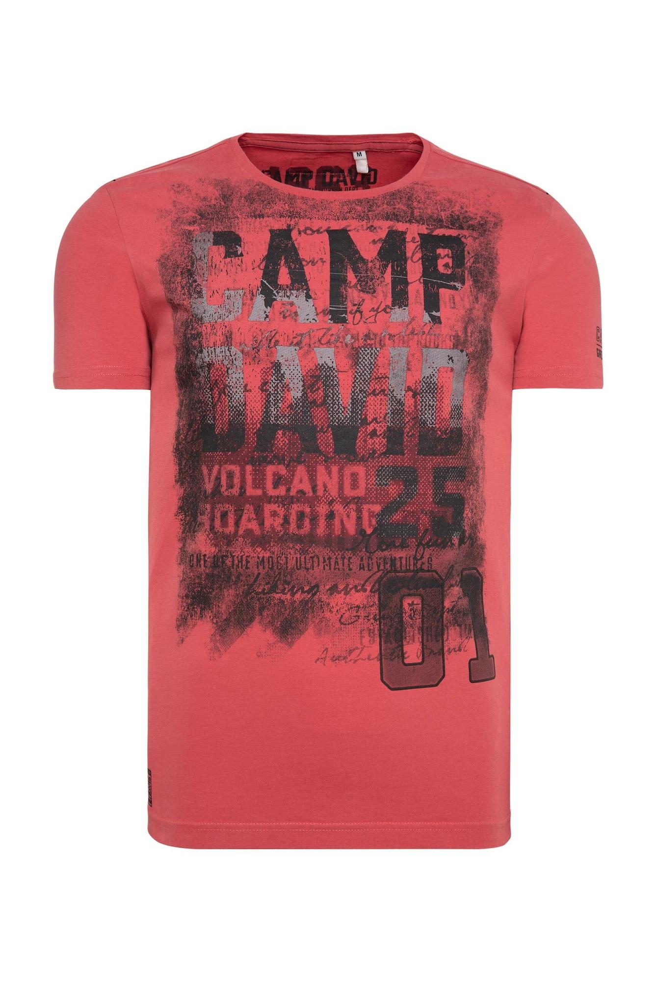 CAMP DAVID Marškinėliai pastelinė raudona / juoda