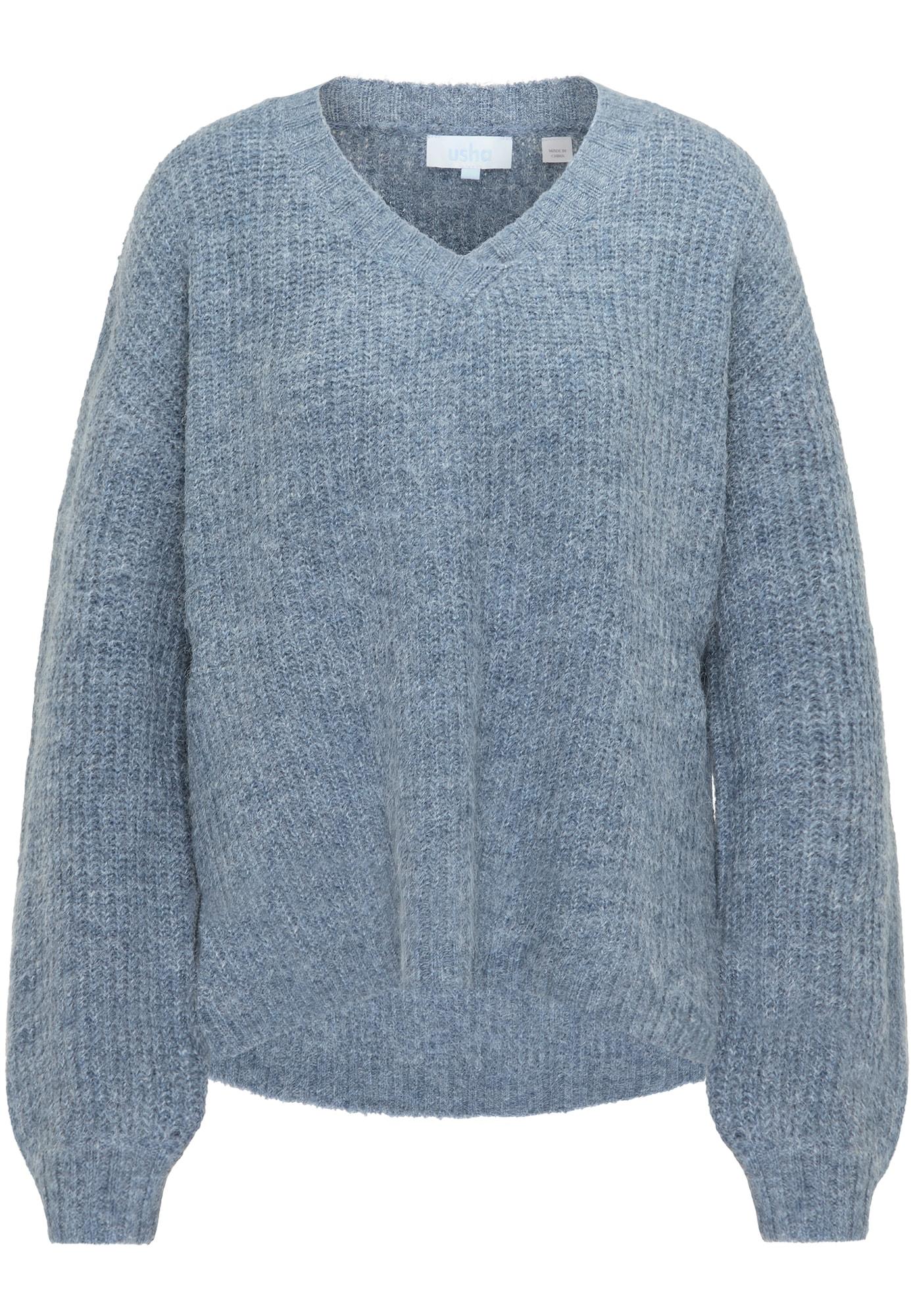 usha BLUE LABEL Laisvas megztinis mėlyna dūmų spalva / vilnos balta