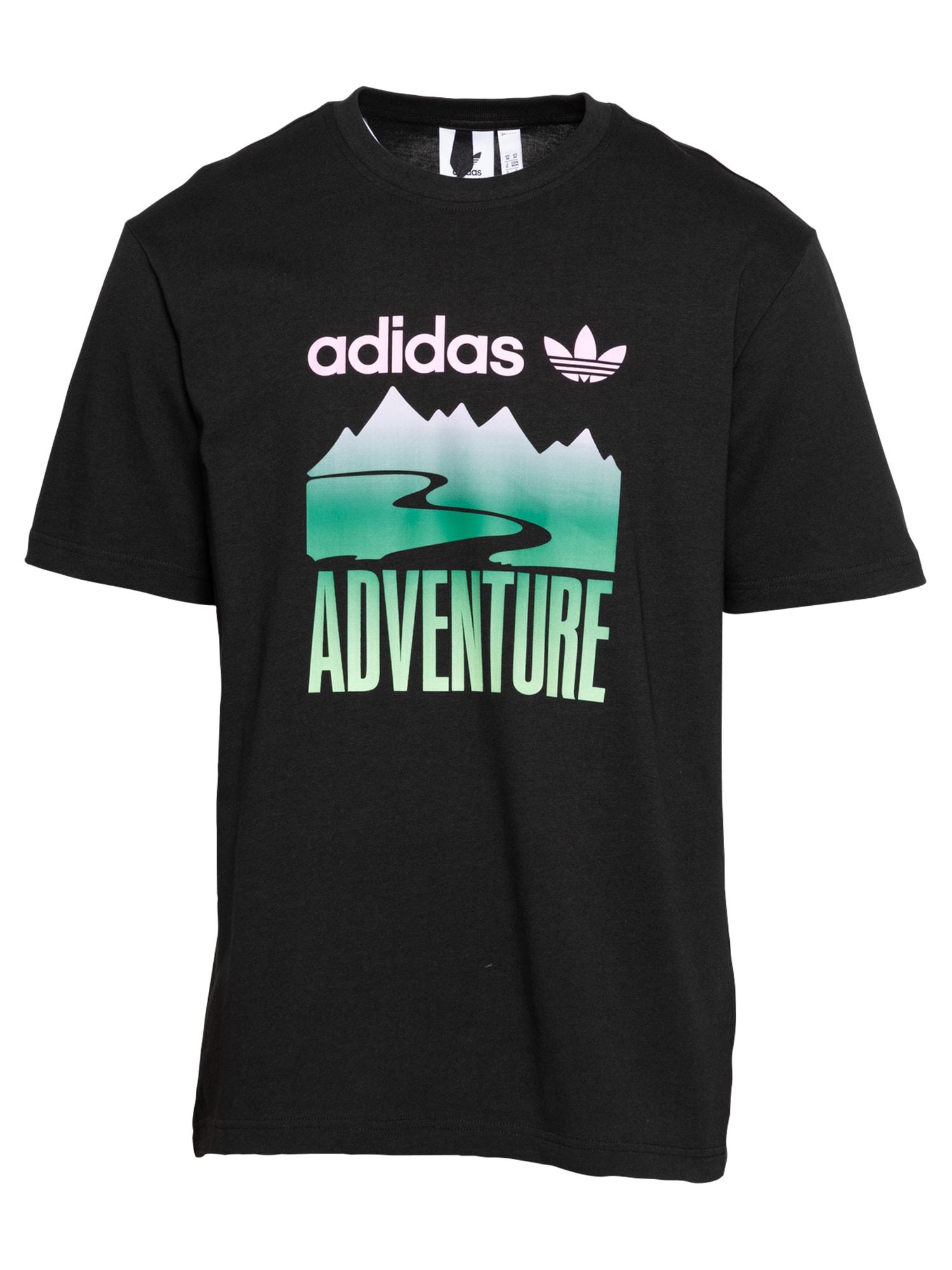 ADIDAS ORIGINALS Marškinėliai 'Adventure Mountain' juoda / rožių spalva / žalia