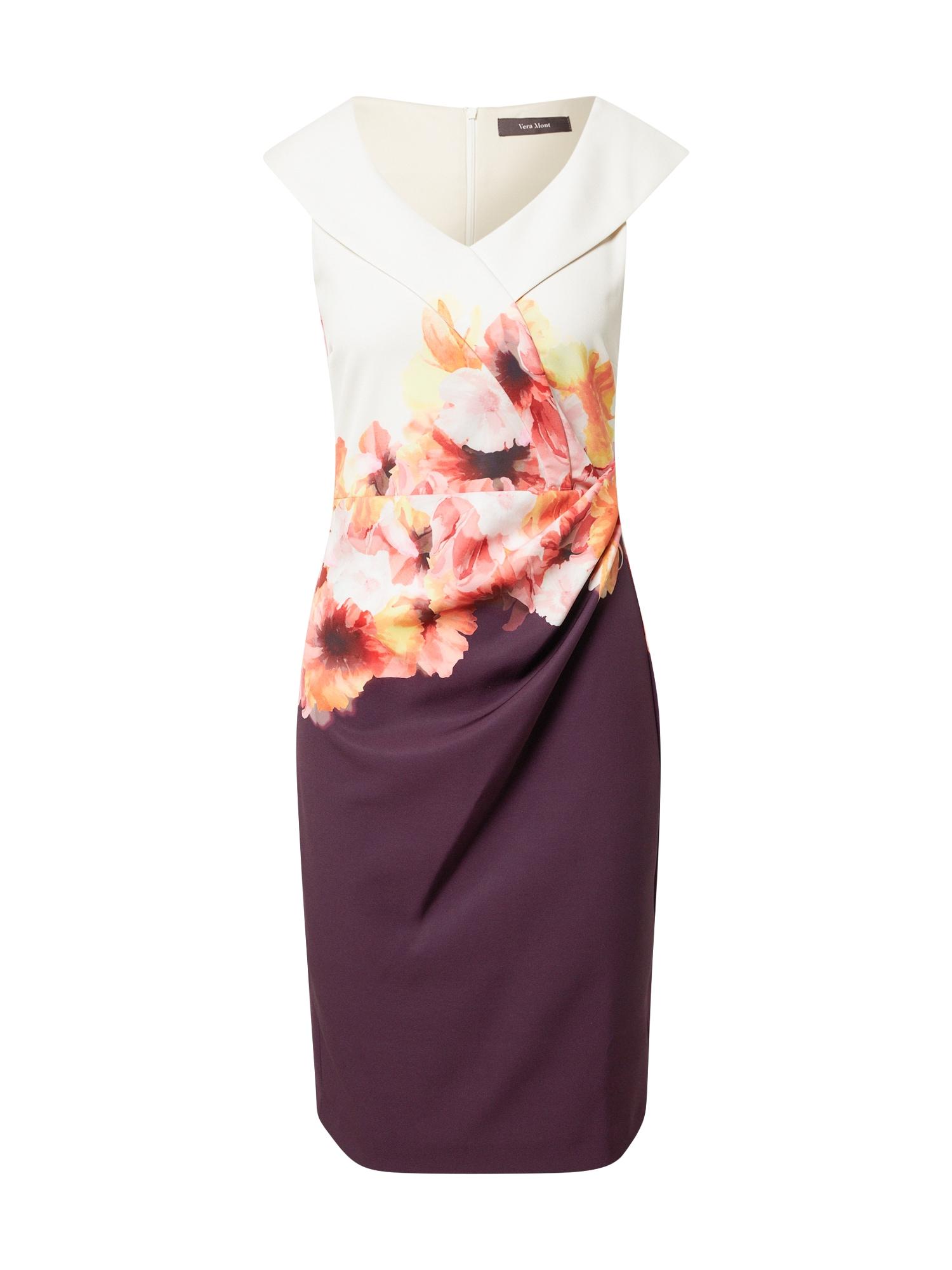 Vera Mont Kokteilinė suknelė balta / tamsiai violetinė / rožių spalva / geltona