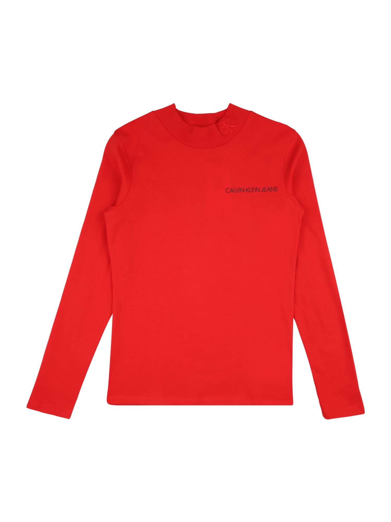 Calvin Klein Jeans Marškinėliai raudona / juoda