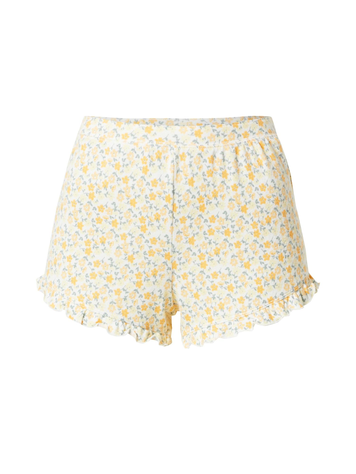 HOLLISTER Pyžamové nohavice  žltá / biela / modrosivá