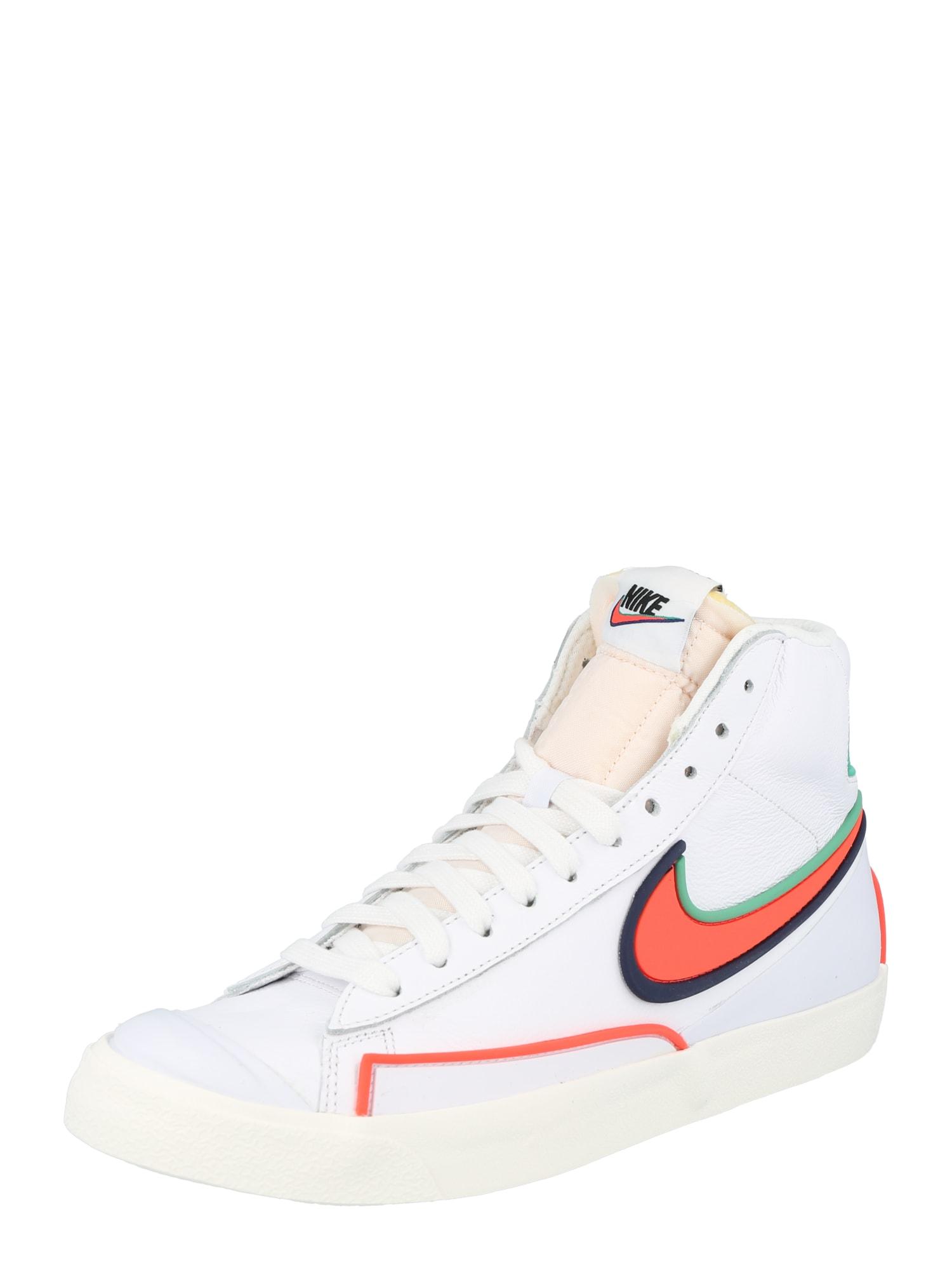 Nike Sportswear Sportbačiai su auliuku 'Blazer Mid '77 Infinite' balta / oranžinė-raudona