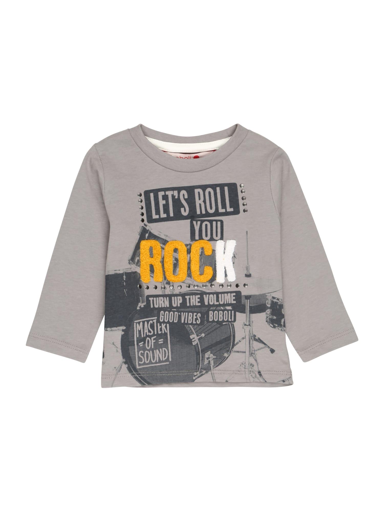 Boboli Tričko 'Rock'  šedá / tmavě šedá / tmavě žlutá / bílá