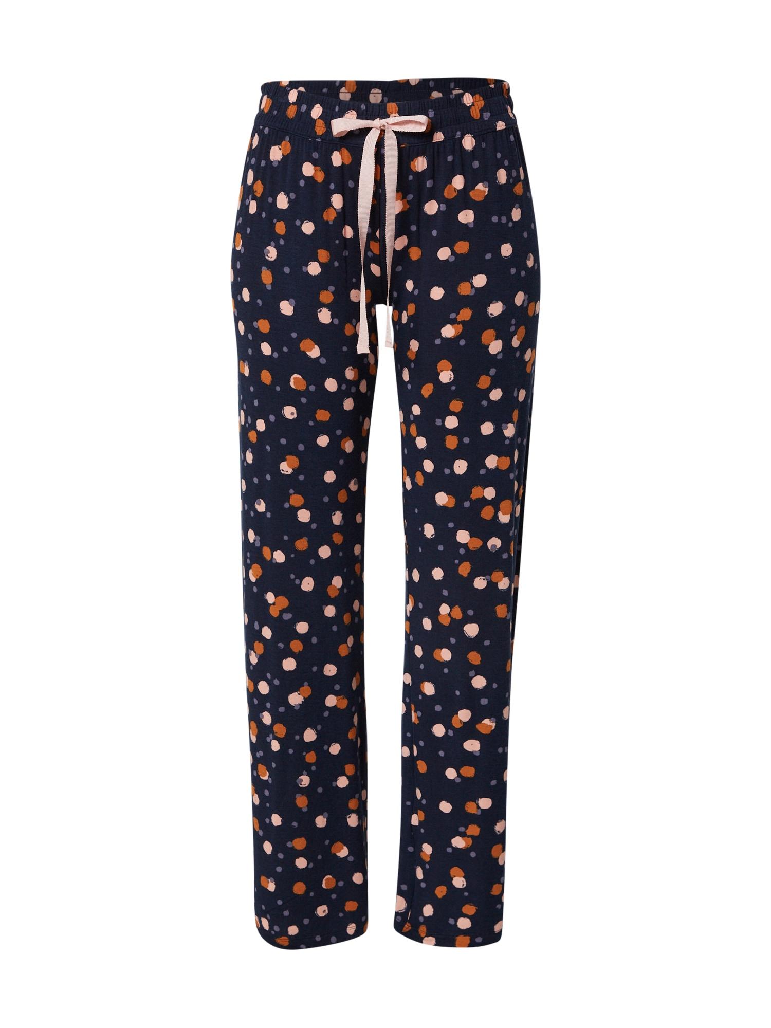 PJ Salvage Pižaminės kelnės tamsiai mėlyna / karamelės / kremo / melsvai pilka