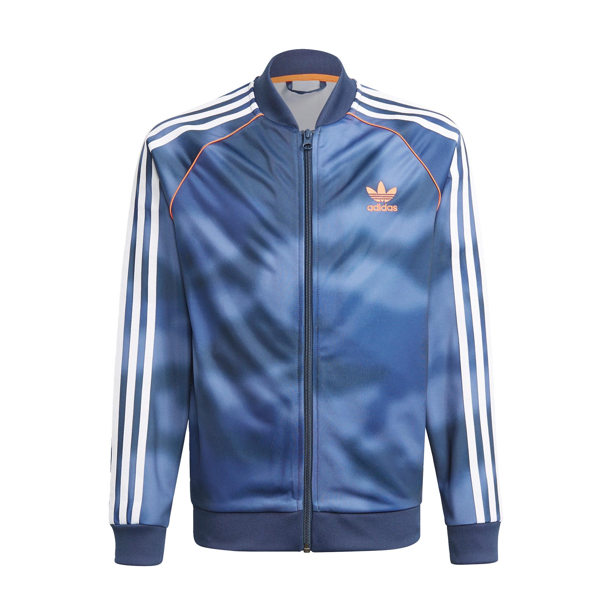 ADIDAS ORIGINALS Demisezoninė striukė mėlyna / balta / oranžinė / mėlyna dūmų spalva
