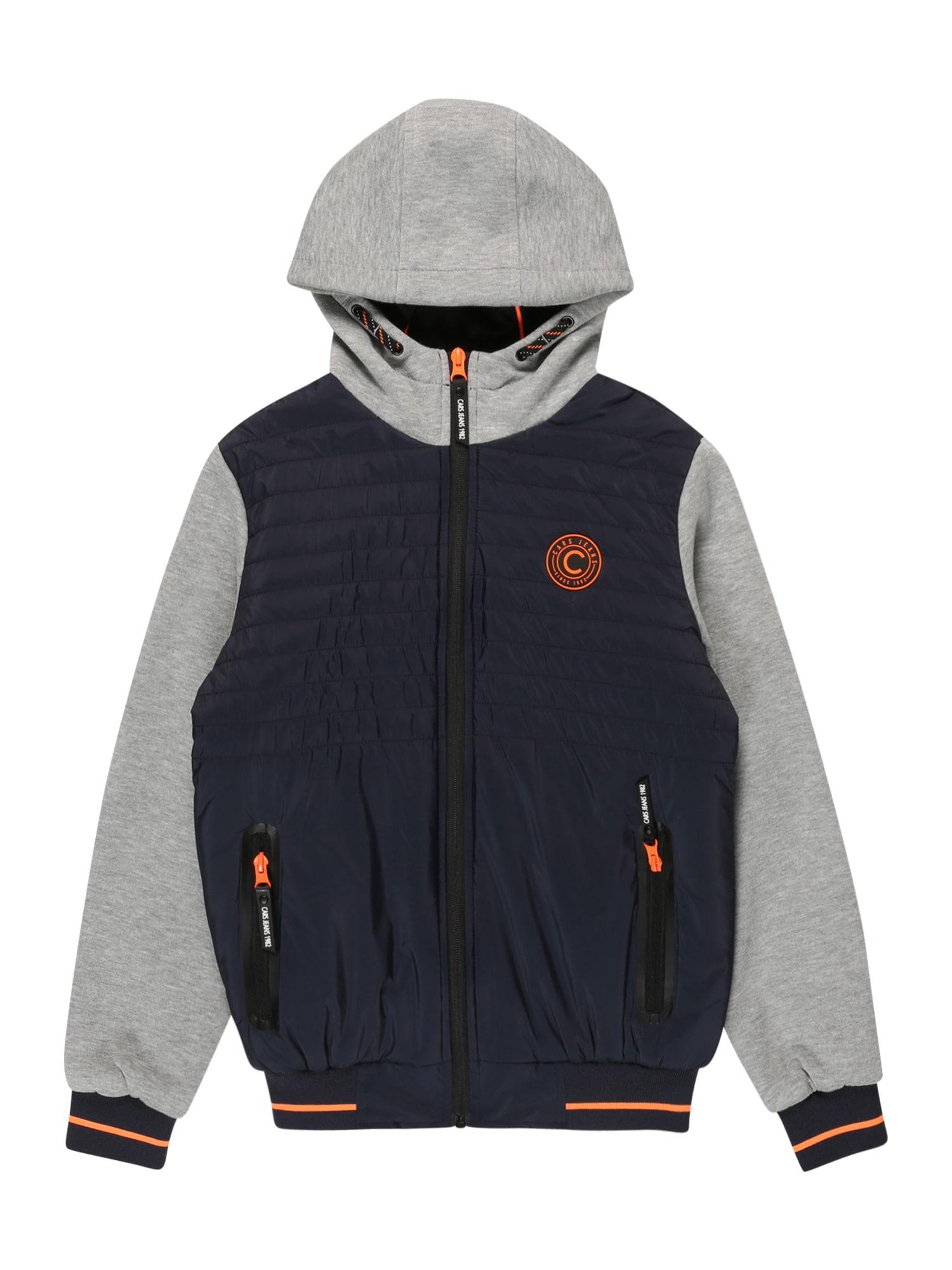 Cars Jeans Demisezoninė striukė 'BANTONY' tamsiai mėlyna / šviesiai pilka / oranžinė