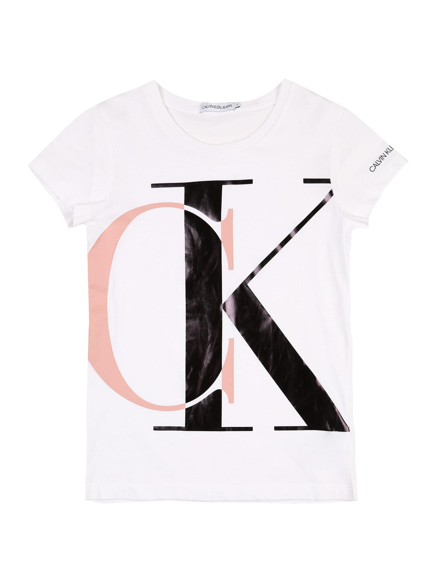 Calvin Klein Jeans Marškinėliai balta / juoda / rožių spalva