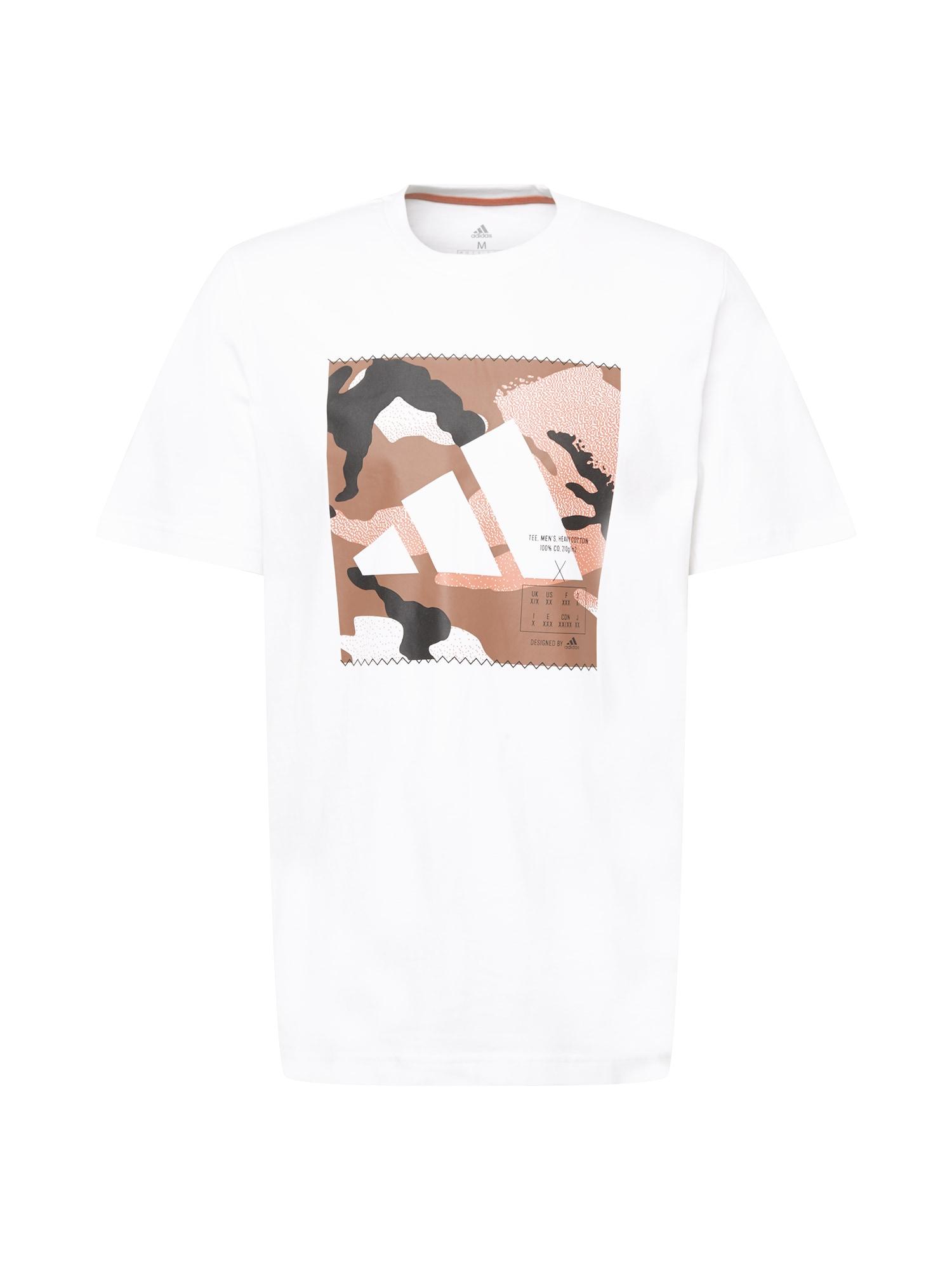 ADIDAS PERFORMANCE Funkční tričko  bílá / hnědá