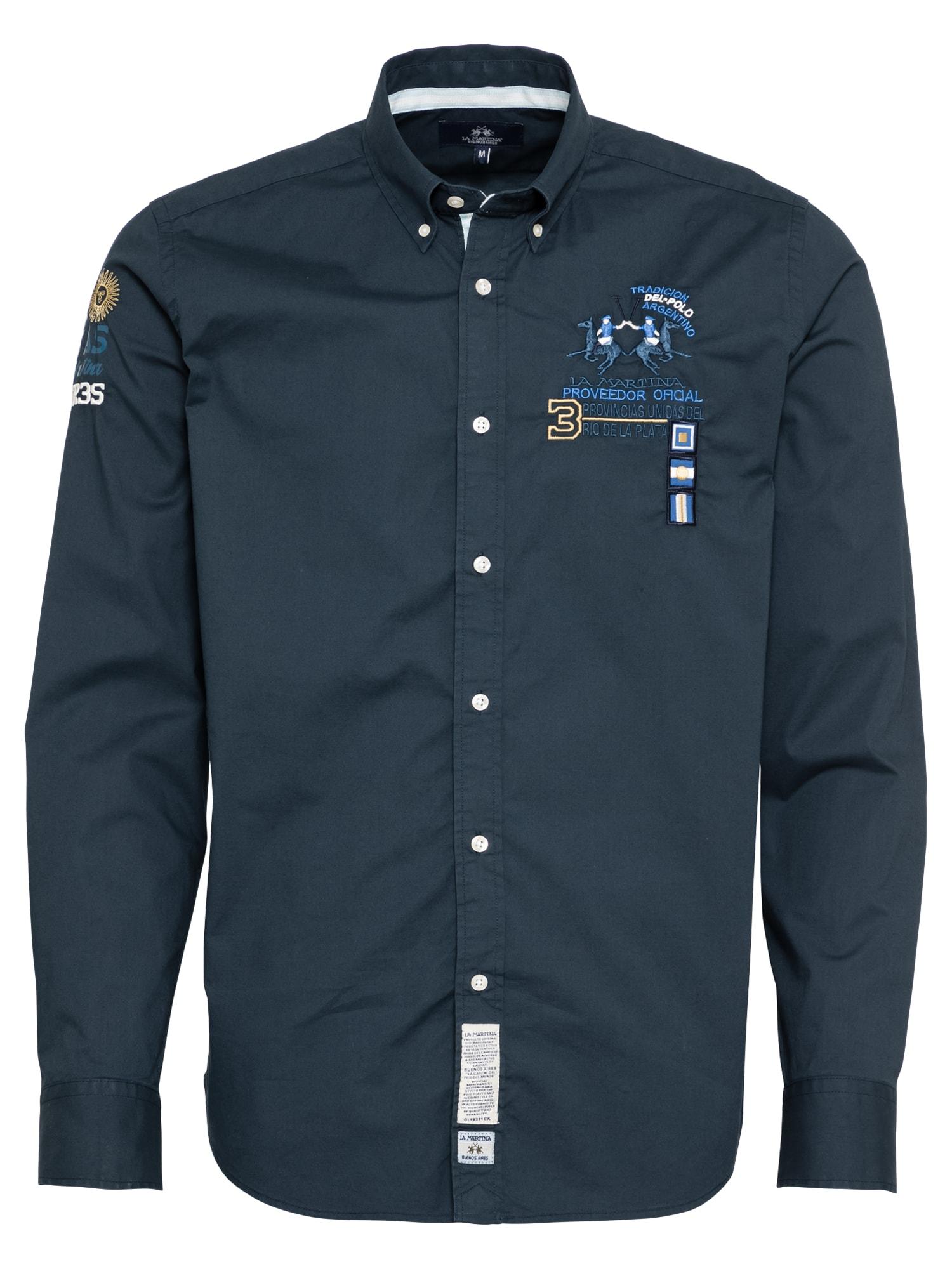 La Martina Marškiniai tamsiai mėlyna / balta / mėlyna