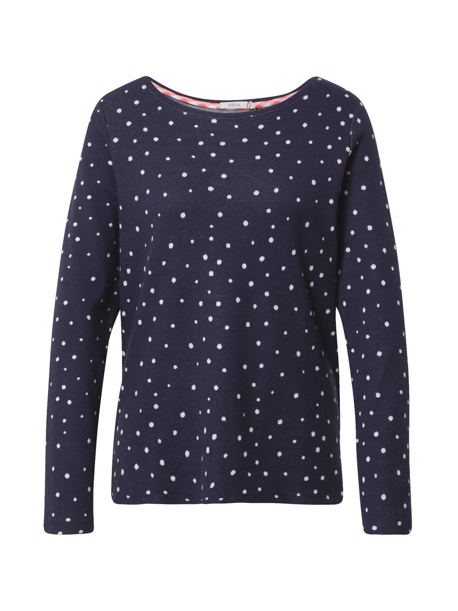 CECIL Marškinėliai balta / tamsiai mėlyna