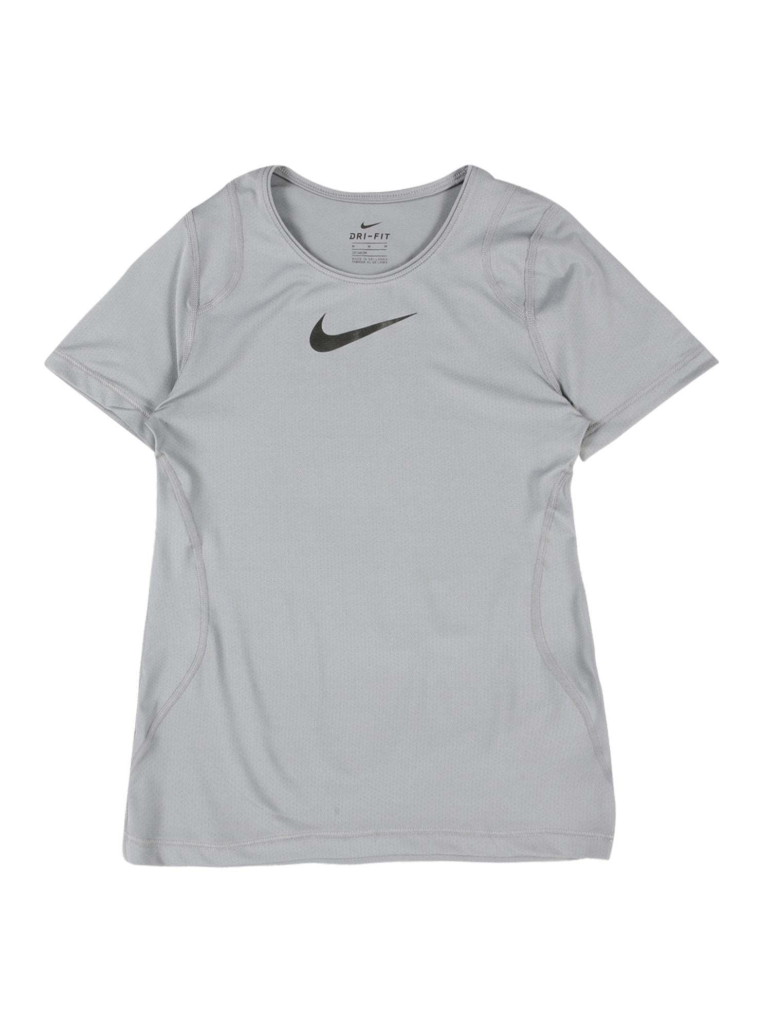 NIKE Sportiniai marškinėliai pilka / juoda
