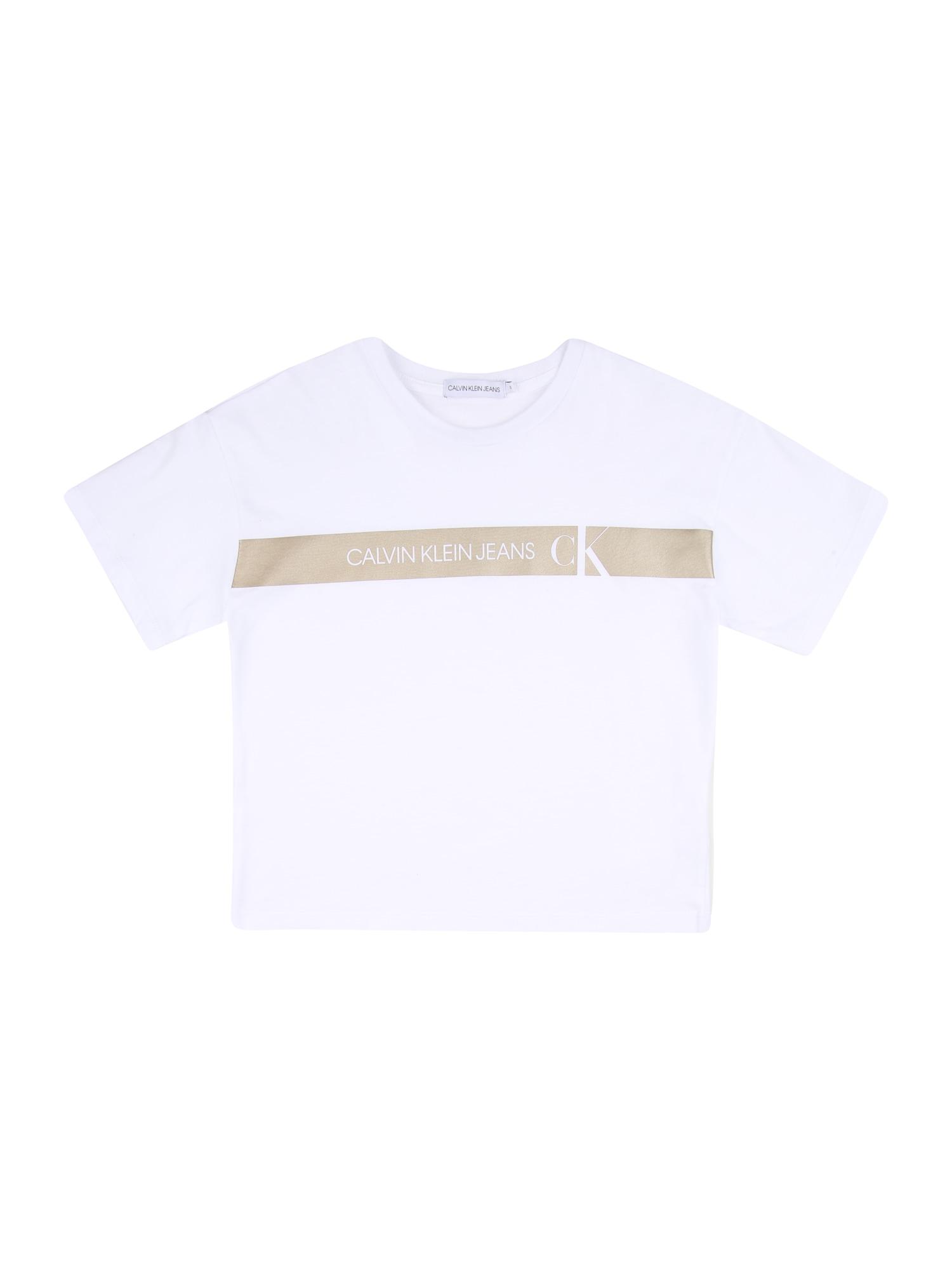 Calvin Klein Marškinėliai balta / smėlio