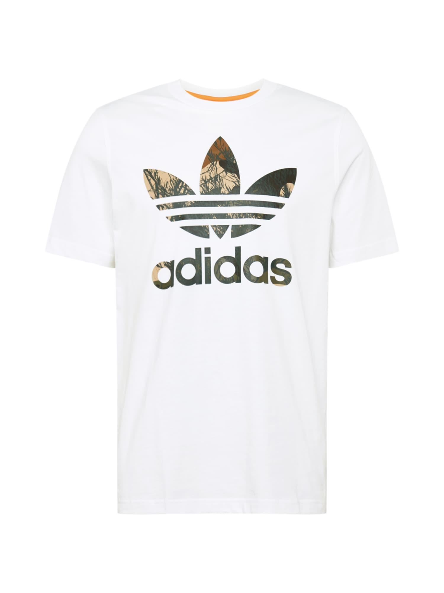 ADIDAS ORIGINALS Marškinėliai juoda / ruda / balta