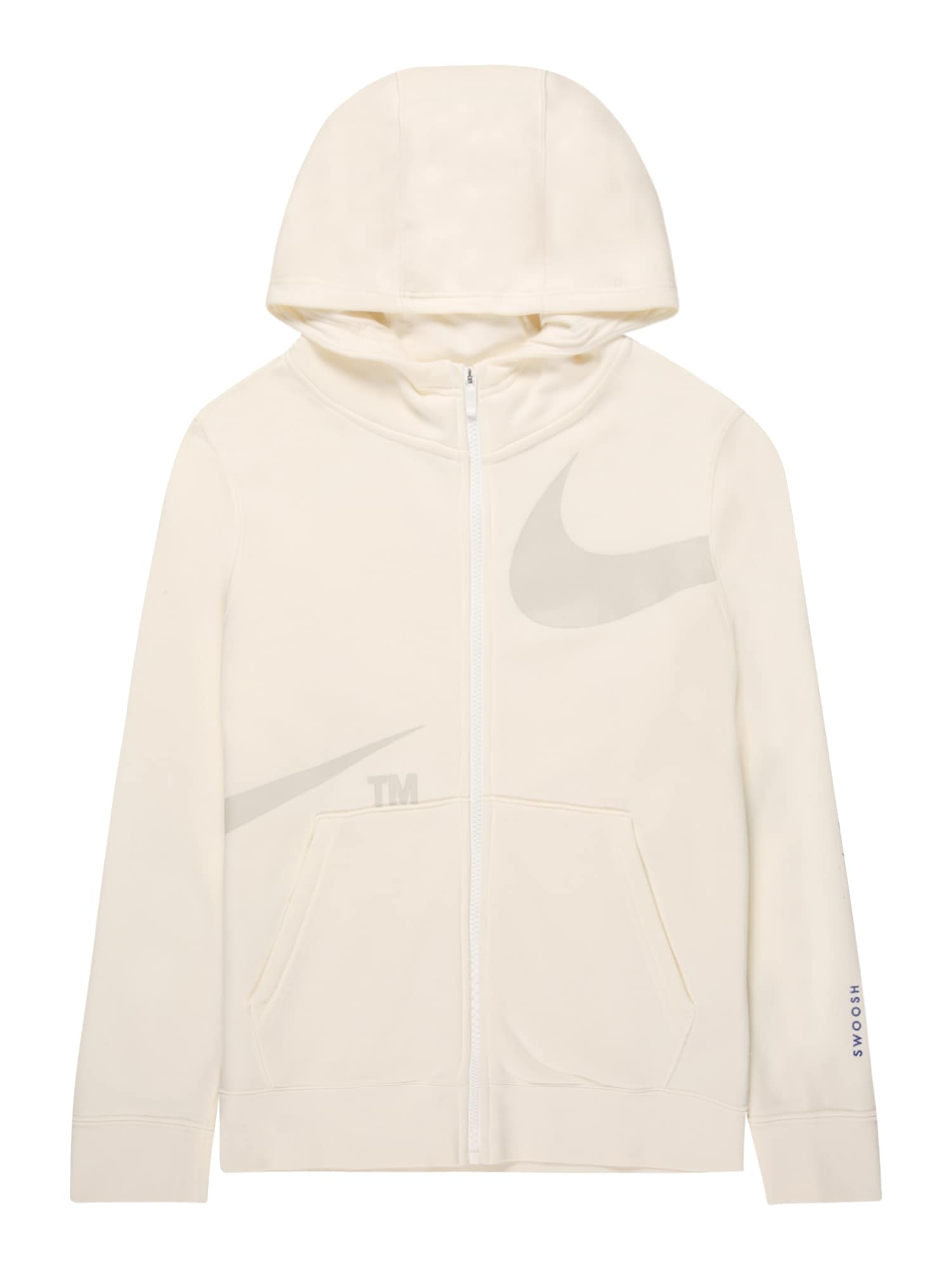 Nike Sportswear Džemperis gelsvai pilka spalva / balta