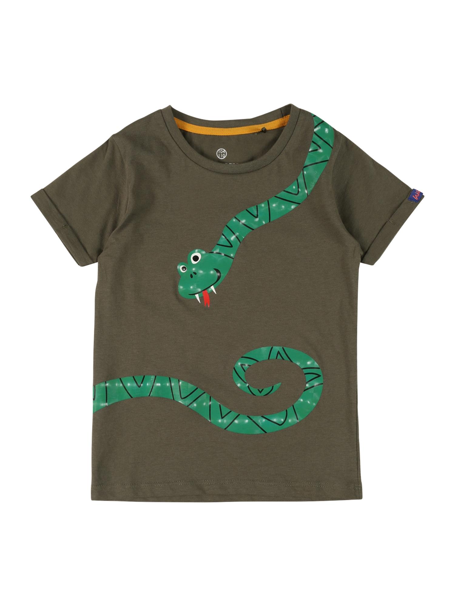 LEMON BERET Marškinėliai rusvai žalia / tamsiai žalia