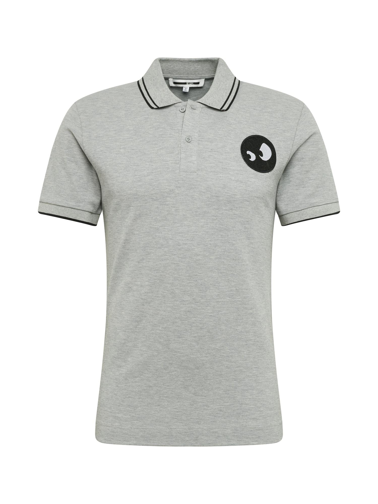 McQ Alexander McQueen Marškinėliai pilka / juoda / balta