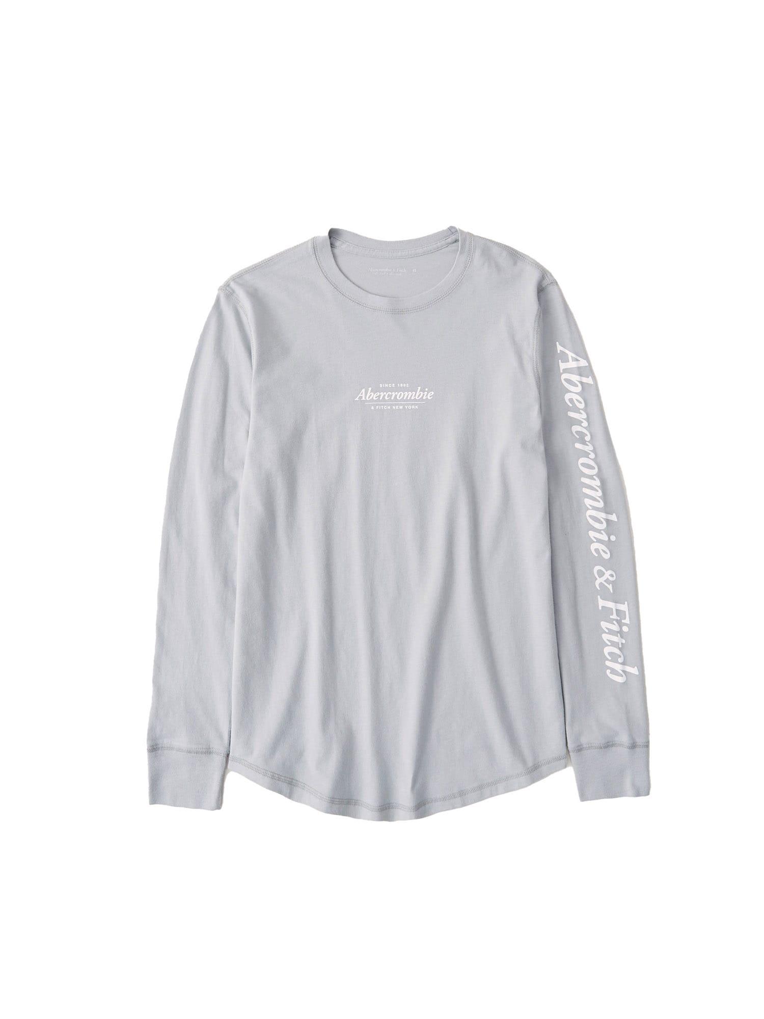 Abercrombie & Fitch Marškinėliai šviesiai pilka / balta