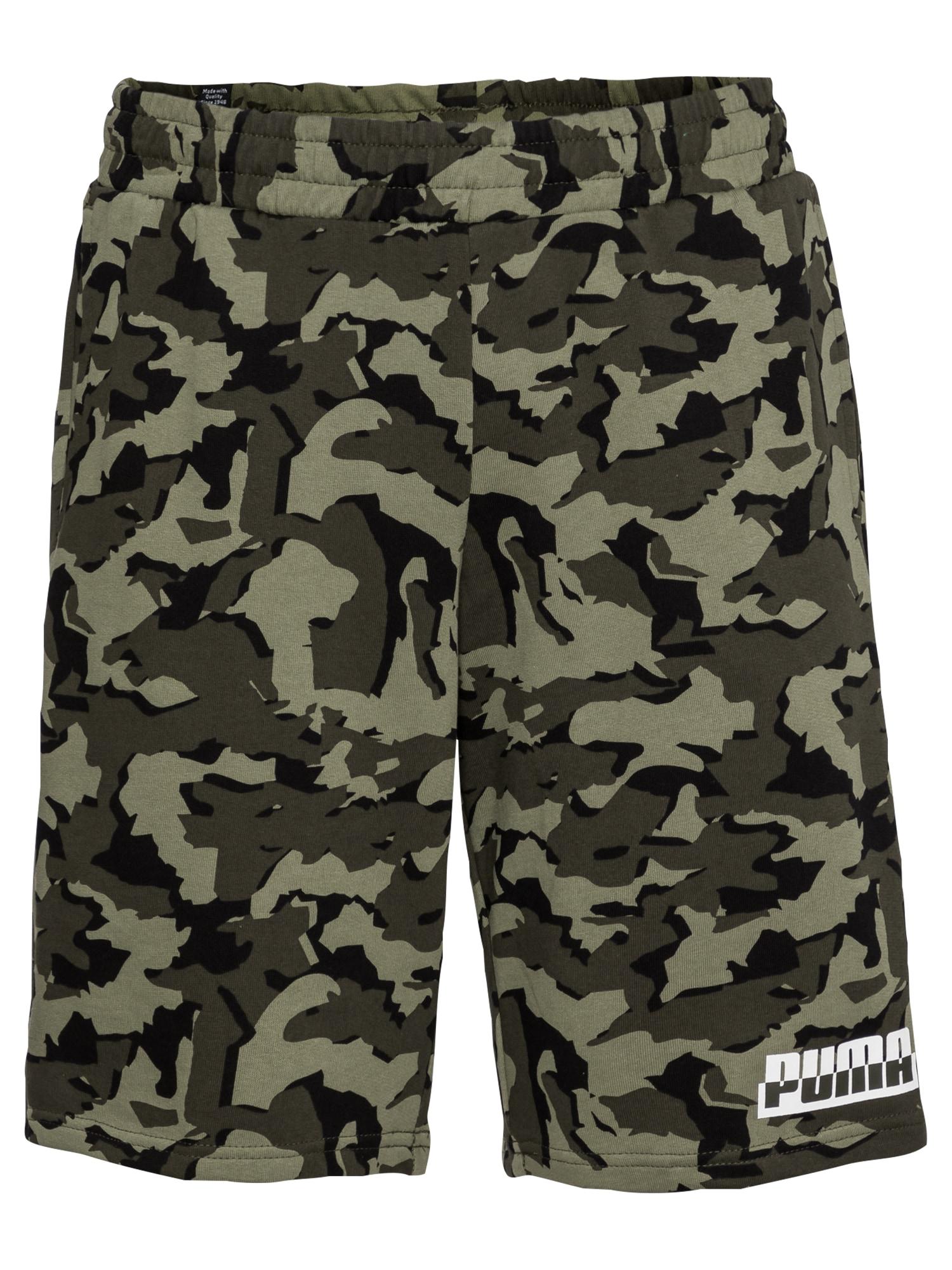 PUMA Sportinės kelnės tamsiai žalia / juoda / balta / šviesiai žalia