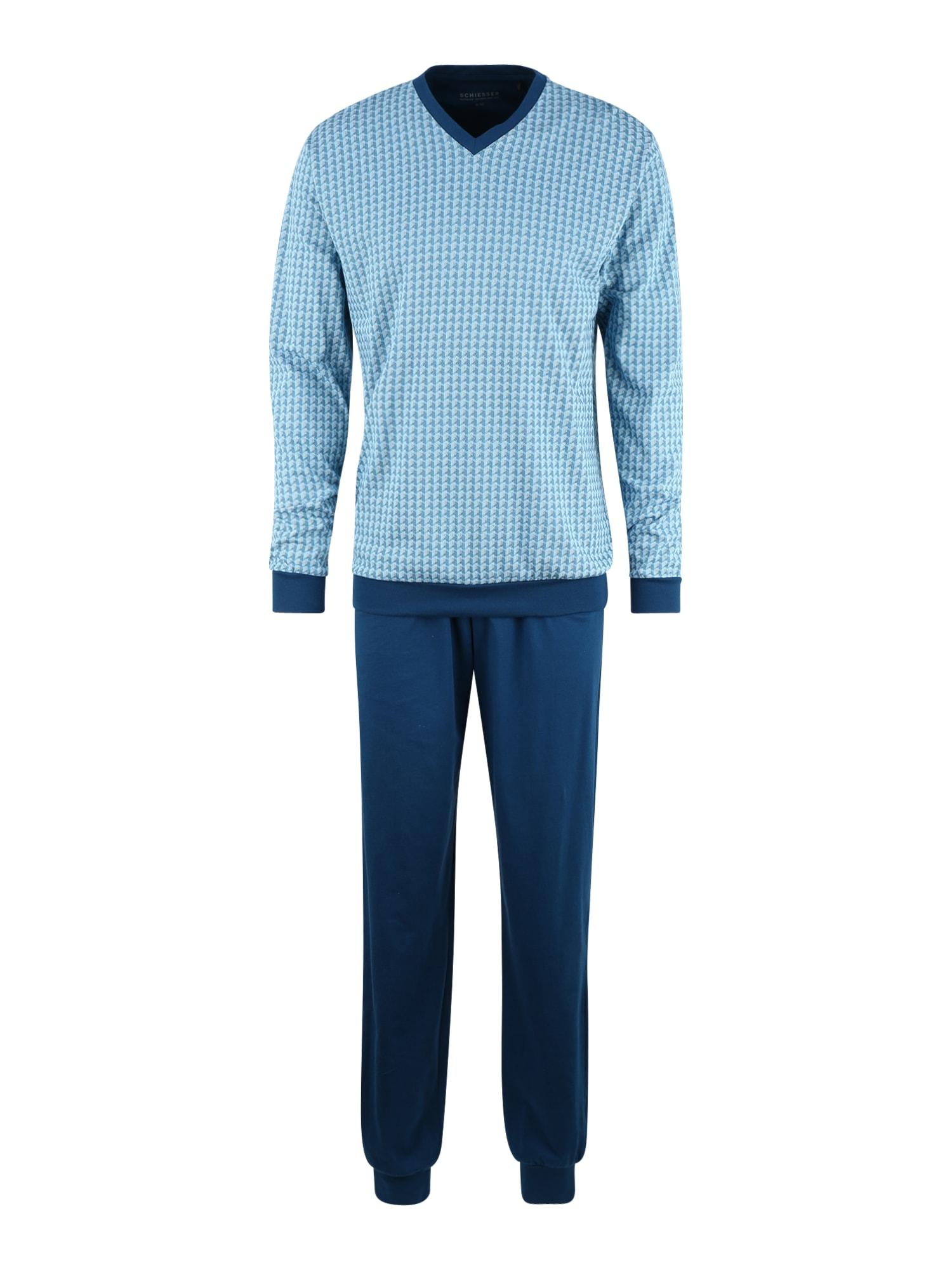 SCHIESSER Ilga pižama šviesiai mėlyna / tamsiai mėlyna