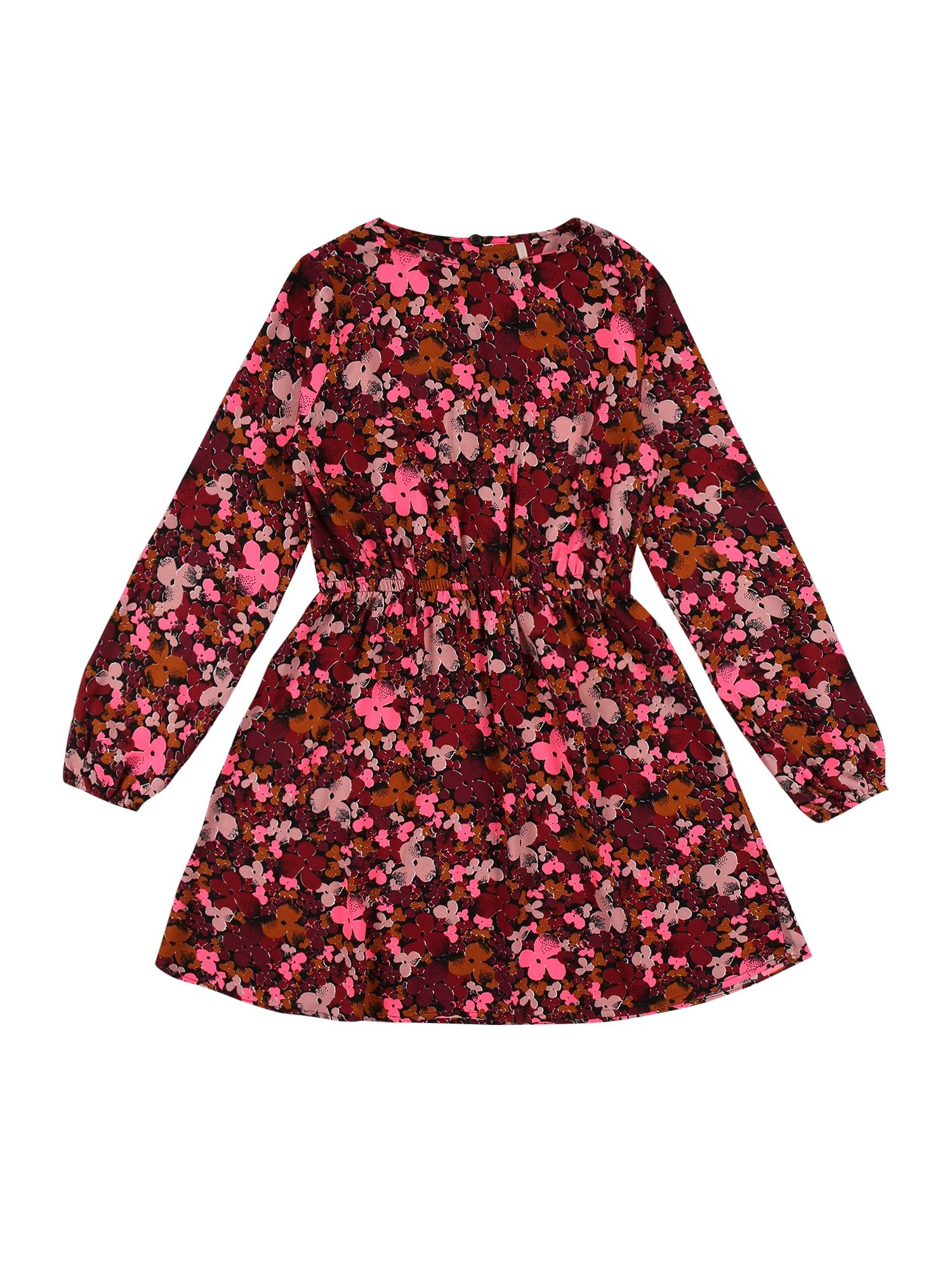 KIDS ONLY Suknelė 'MAGGIE' juoda / šviesiai raudona / rožinė