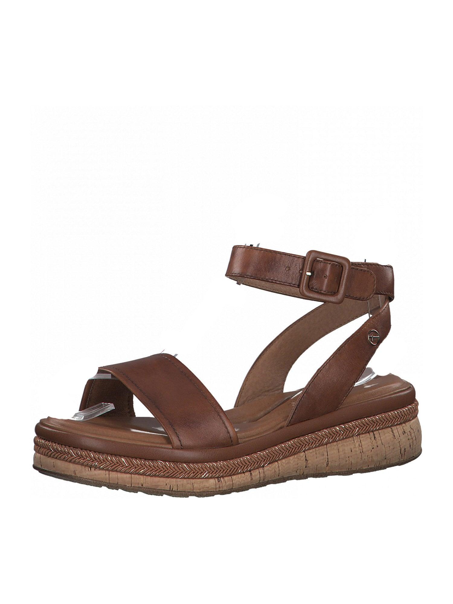 TAMARIS Páskové sandály  karamelová / stříbrná