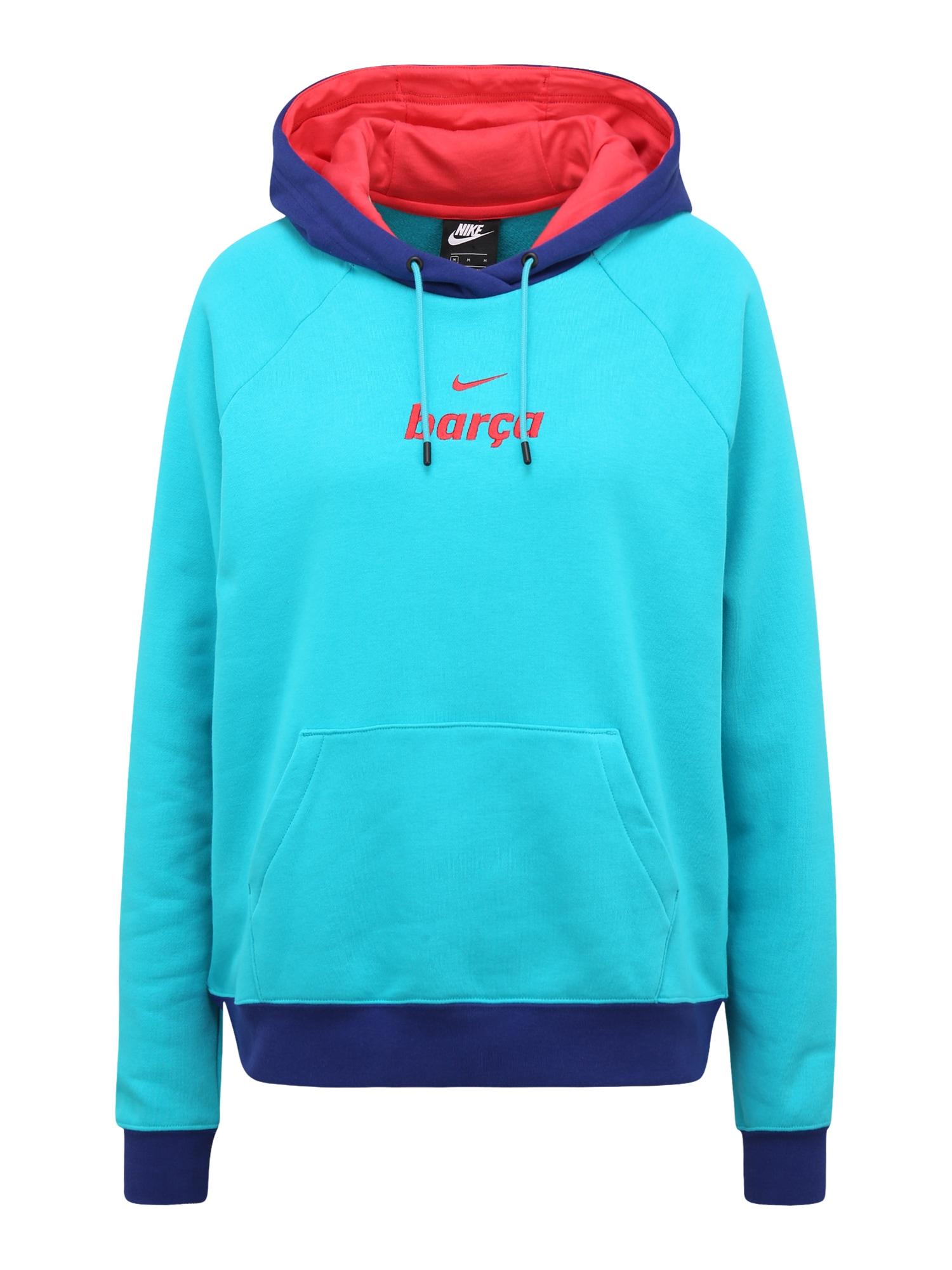 NIKE Sportinio tipo megztinis turkio spalva / mėlyna / šviesiai raudona