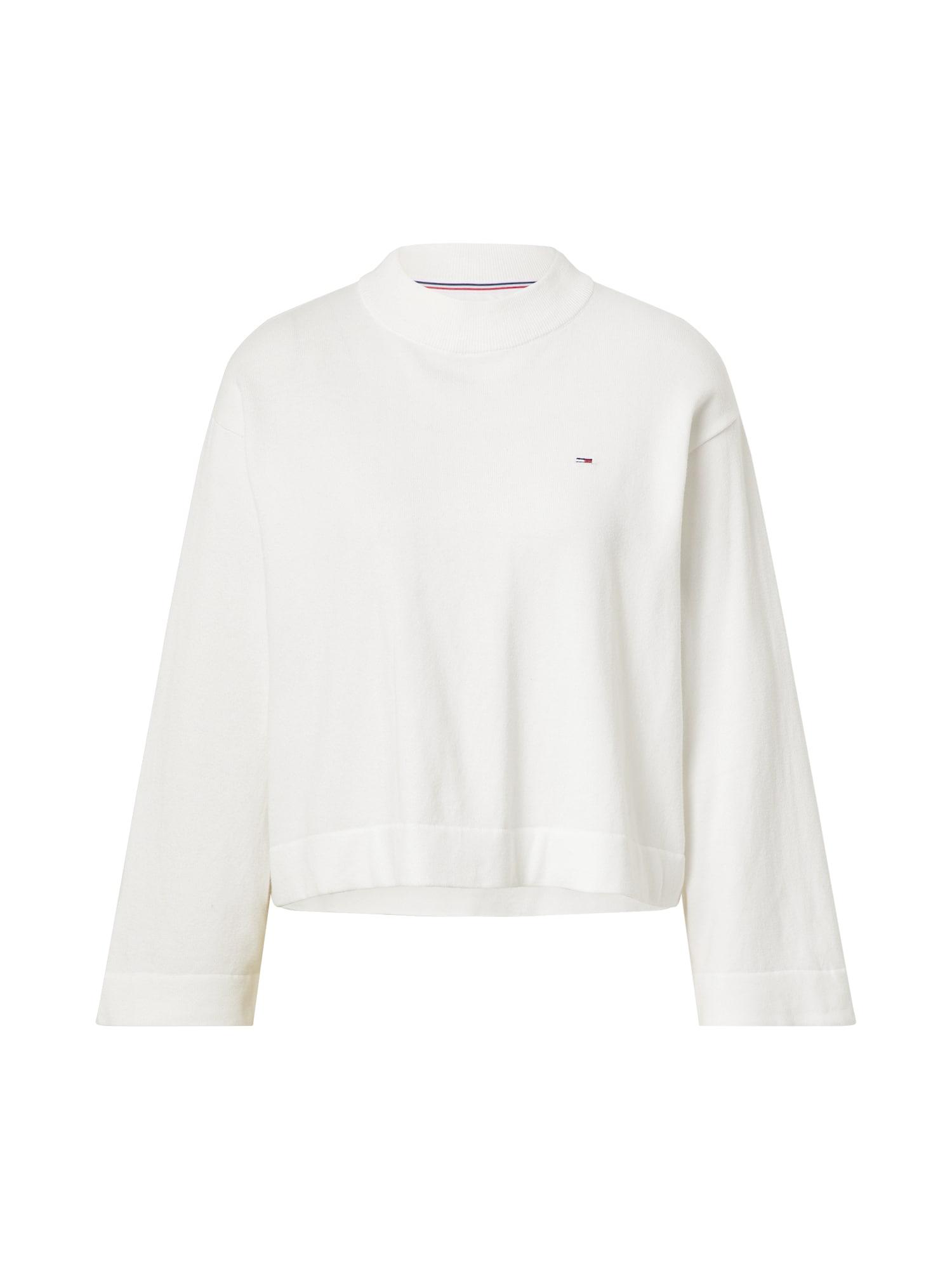 Tommy Jeans Megztinis 'ESSENTIAL' balta / tamsiai mėlyna / raudona