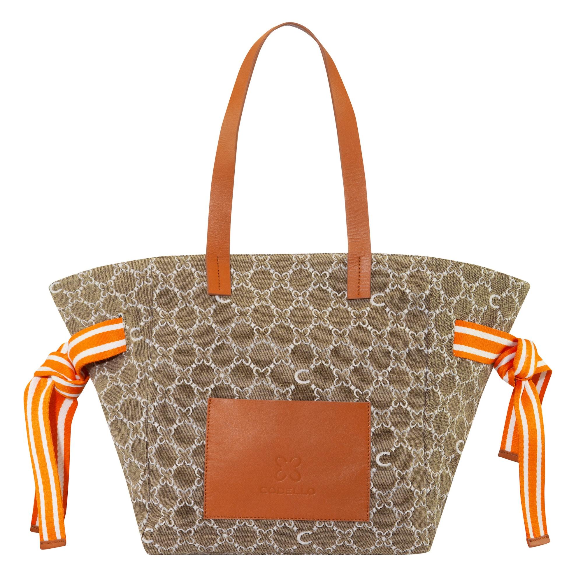 CODELLO Pirkinių krepšys šampano / rusvai oranžinė / nebalintos drobės spalva / oranžinė