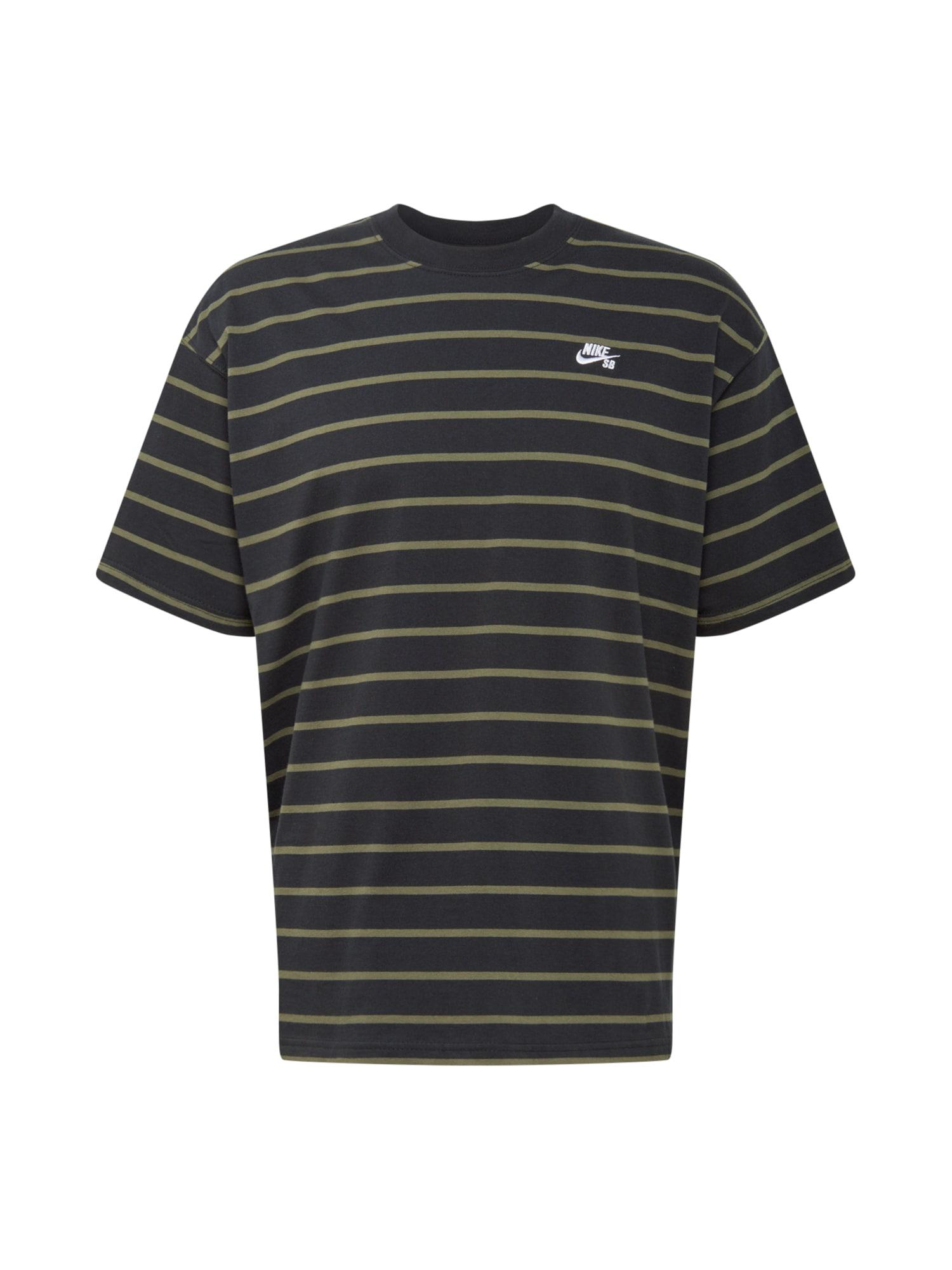 Nike SB Marškinėliai juoda / rusvai žalia