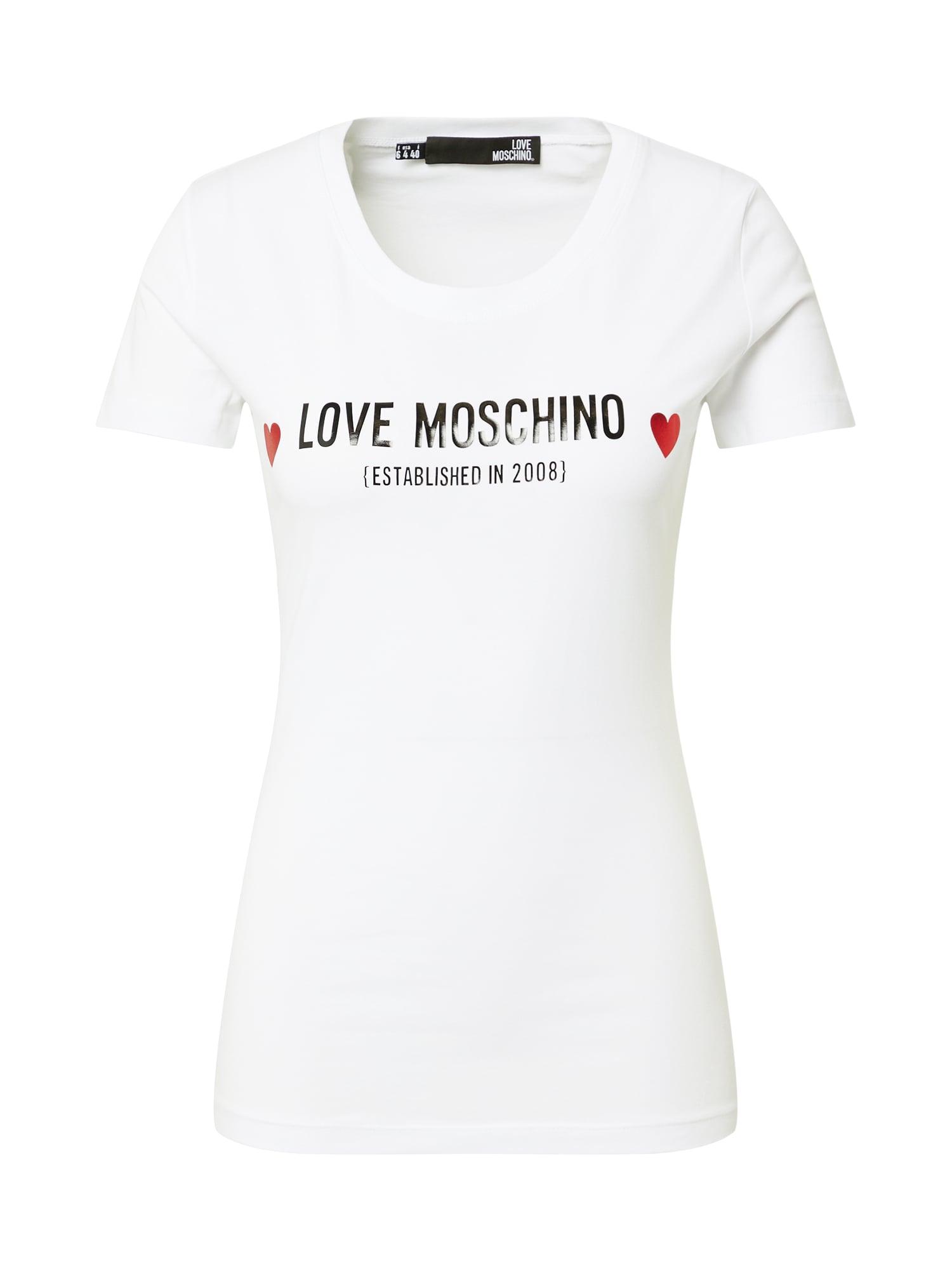 Love Moschino Marškinėliai balta / juoda / raudona